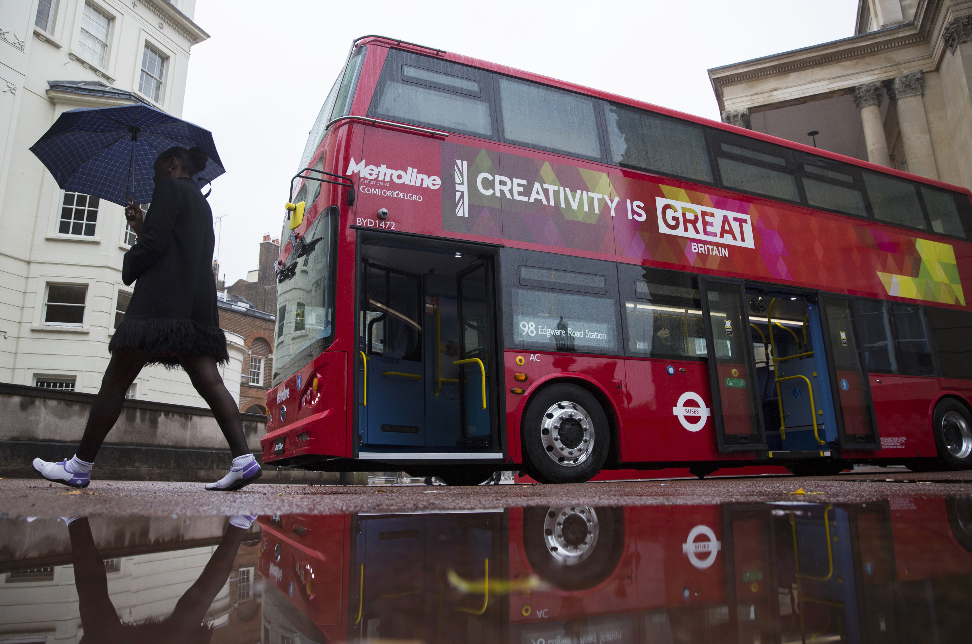 FILE - A BYD bus is displayed at a UK Trade and Investment event in London, Britain October 21, 2015. Chinese investment into low carbon London black cabs and a deal involving luxury sports carmaker Aston Martin are part of a series of business annou...