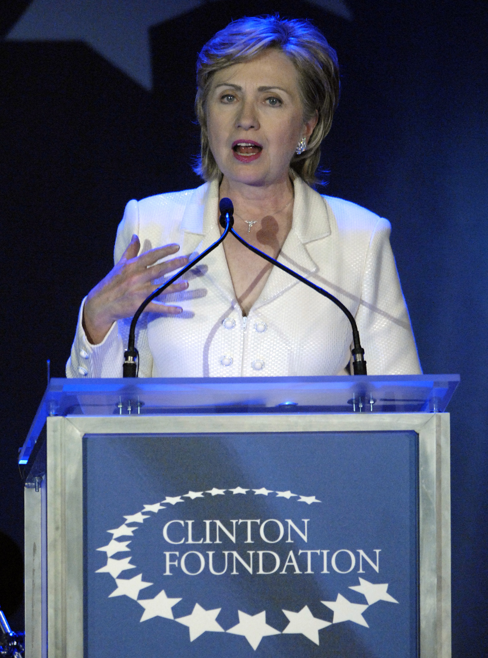 FILE - Senator Hillary Clinton, wife of former U.S. President Bill Clinton, speaks at a fund raising gala for her husband's Clinton Foundation as part of his birthday celebration in New York, Oct. 28, 2006.