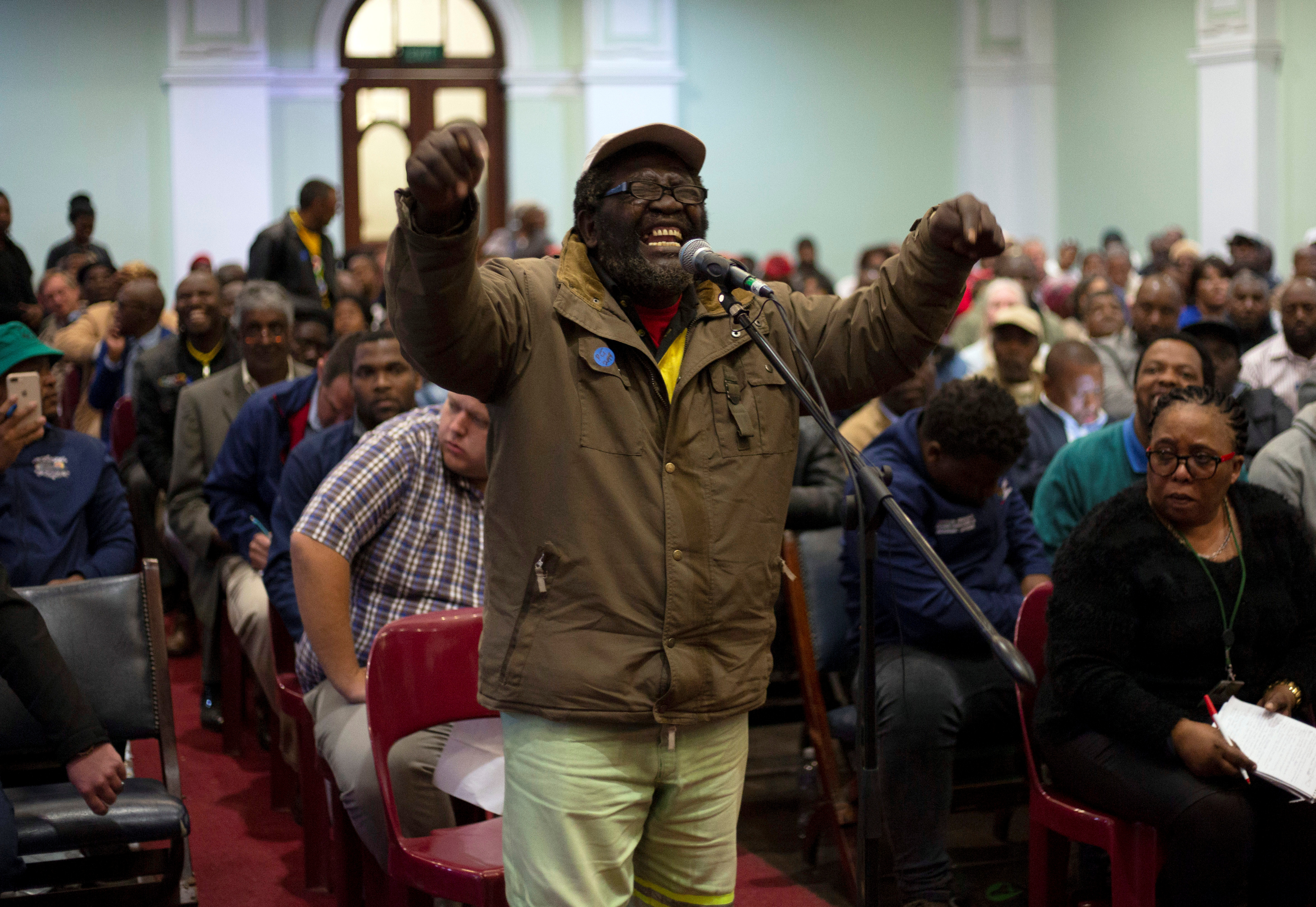 A man speaks as the Constitutional Review Committee hold public hearings regarding expropriation of land without compensation in Pietermaritzburg, South Africa, July 20, 2018.