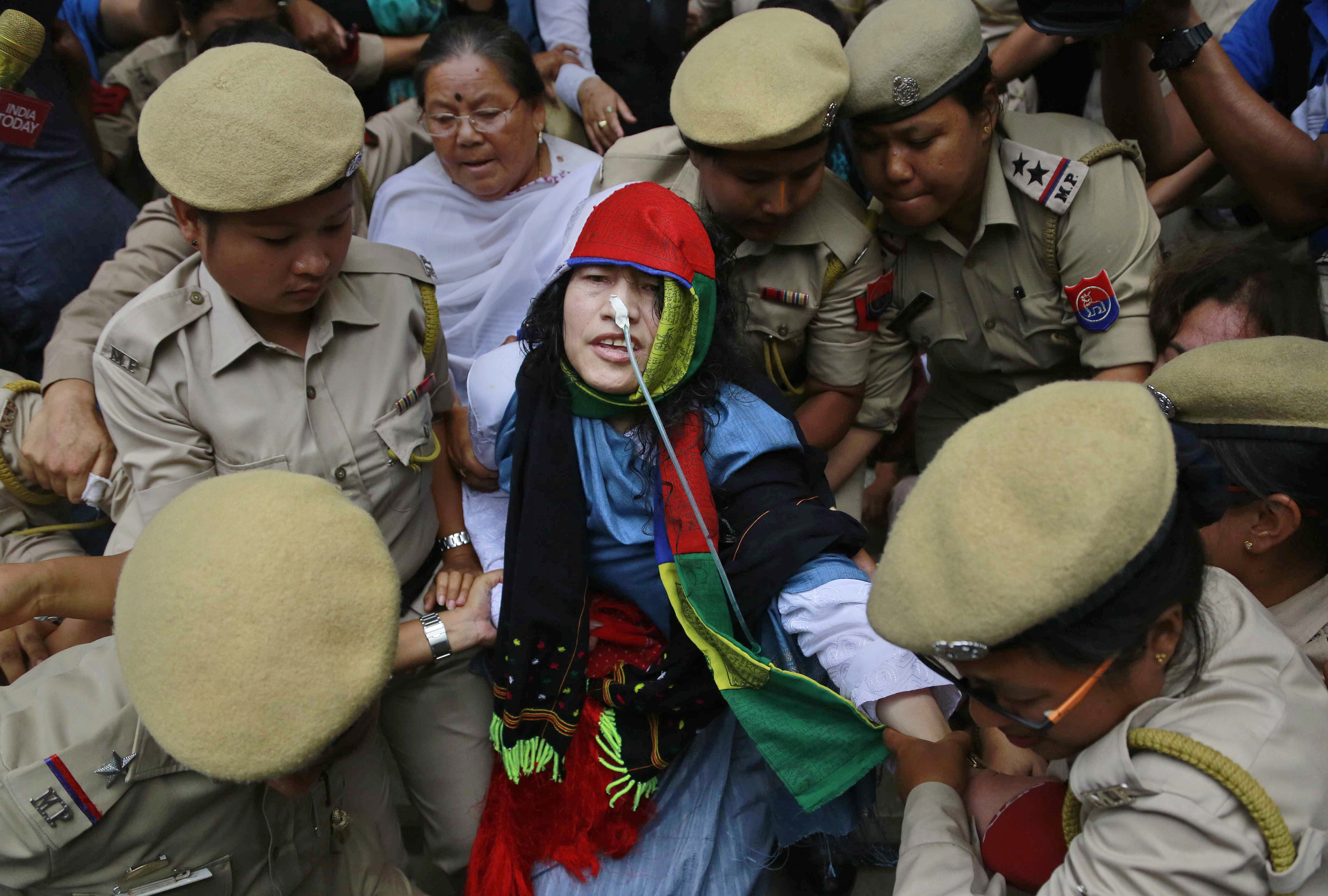 Activist Irom Sharmila is taken back to a hospital after a court appearance in Imphal, in the north-eastern state of Manipur, India, Aug. 9, 2016.