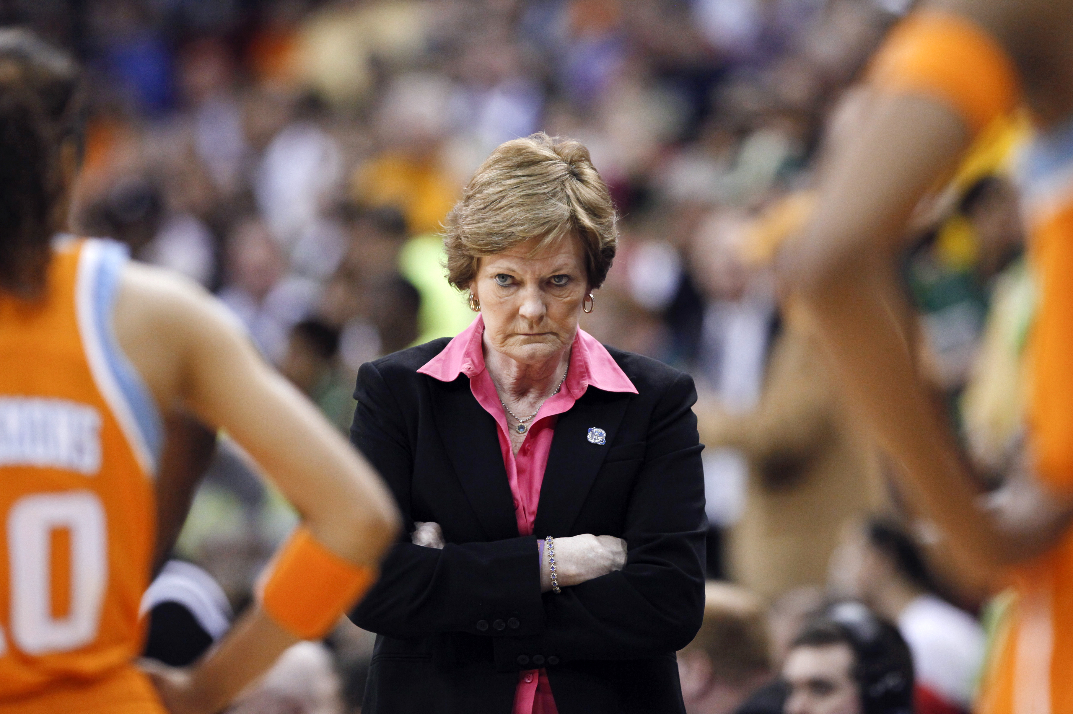 FILE - Tennessee coach Pat Summitt waits for her players during a timeout in the second half of an NCAA women's college basketball tournament regional final against Baylor in Des Moines, Iowa, March 26, 2012.