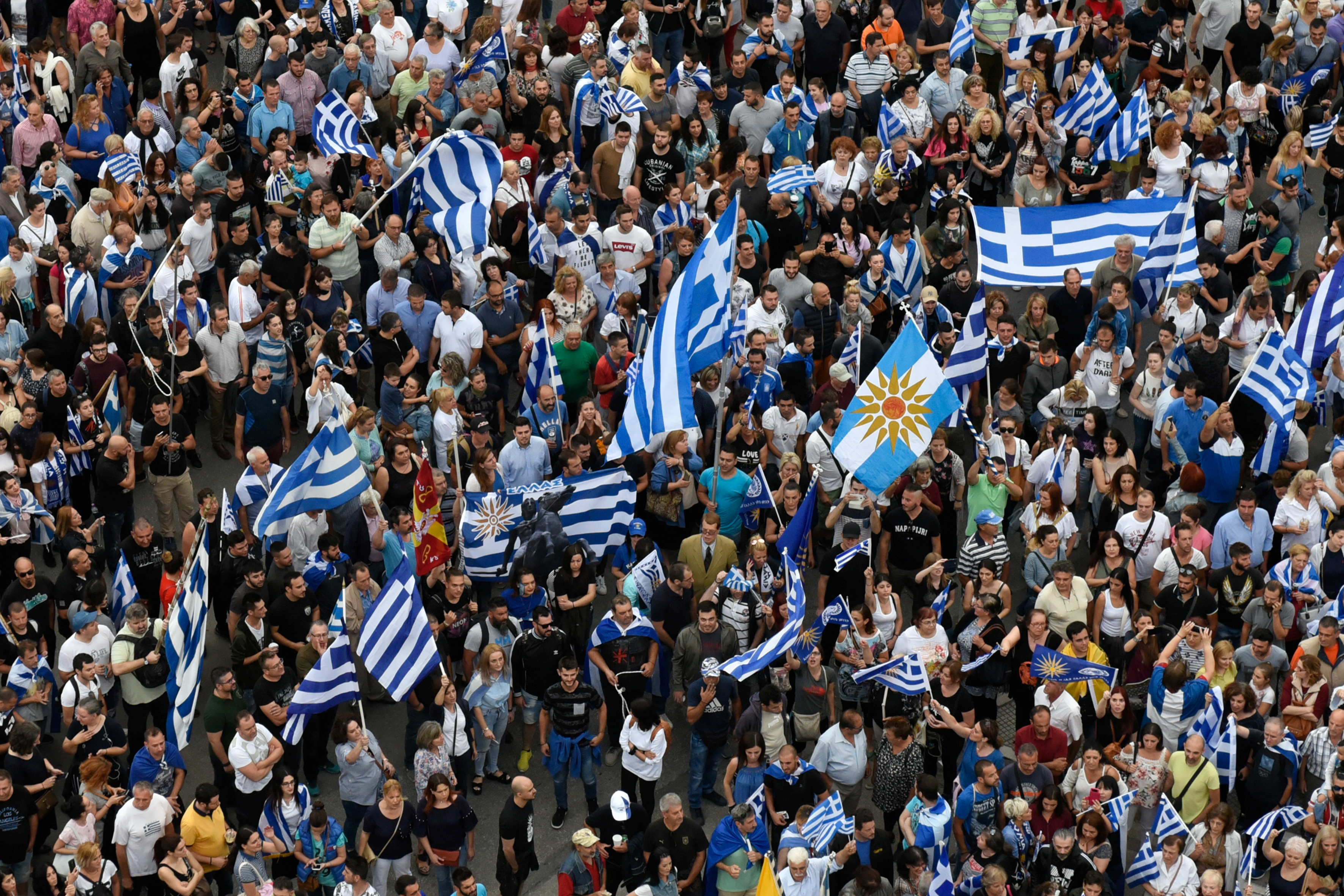 Protesters take part in a demonstration against the agreement reached by Greece and Macedonia to resolve a dispute over the former Yugoslav republic's name, in Thessaloniki, Greece, June 24, 2018.