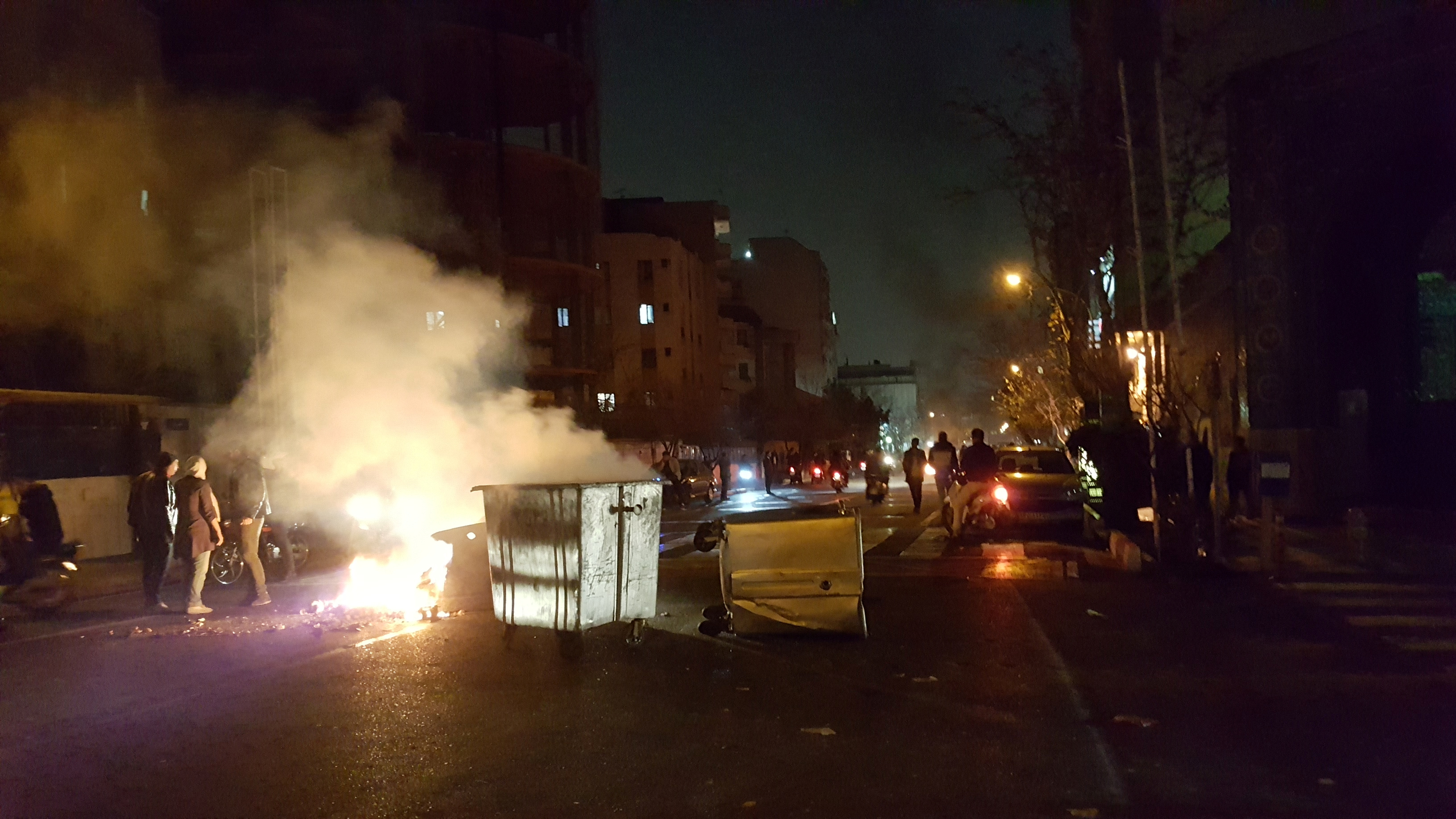 People protest in Tehran, Iran, Dec. 30, 2017 in in this picture obtained from social media.