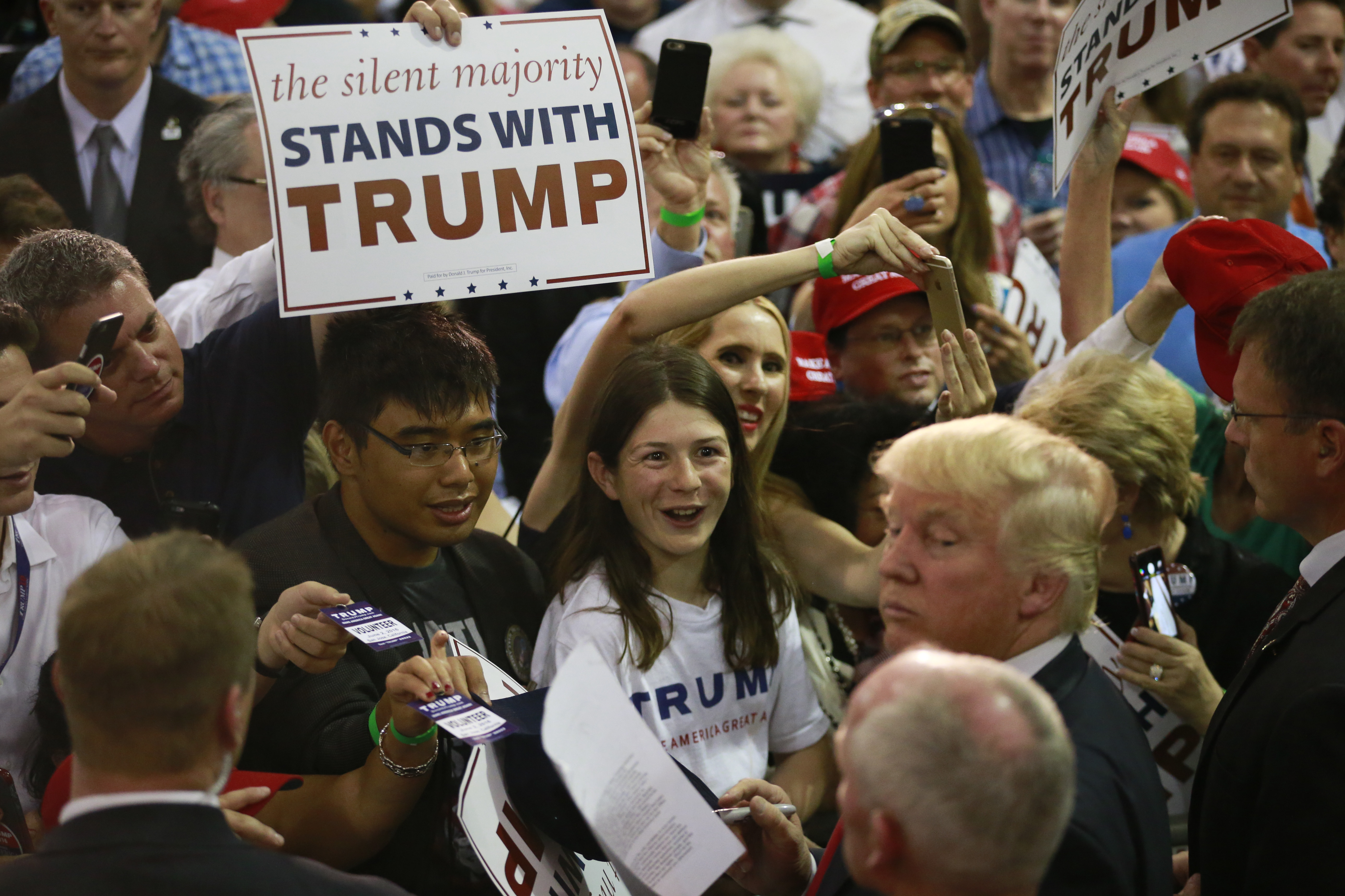 FILE - Republican presidential candidate Donald Trump greets supporters during a rally, in San Jose, Calif.