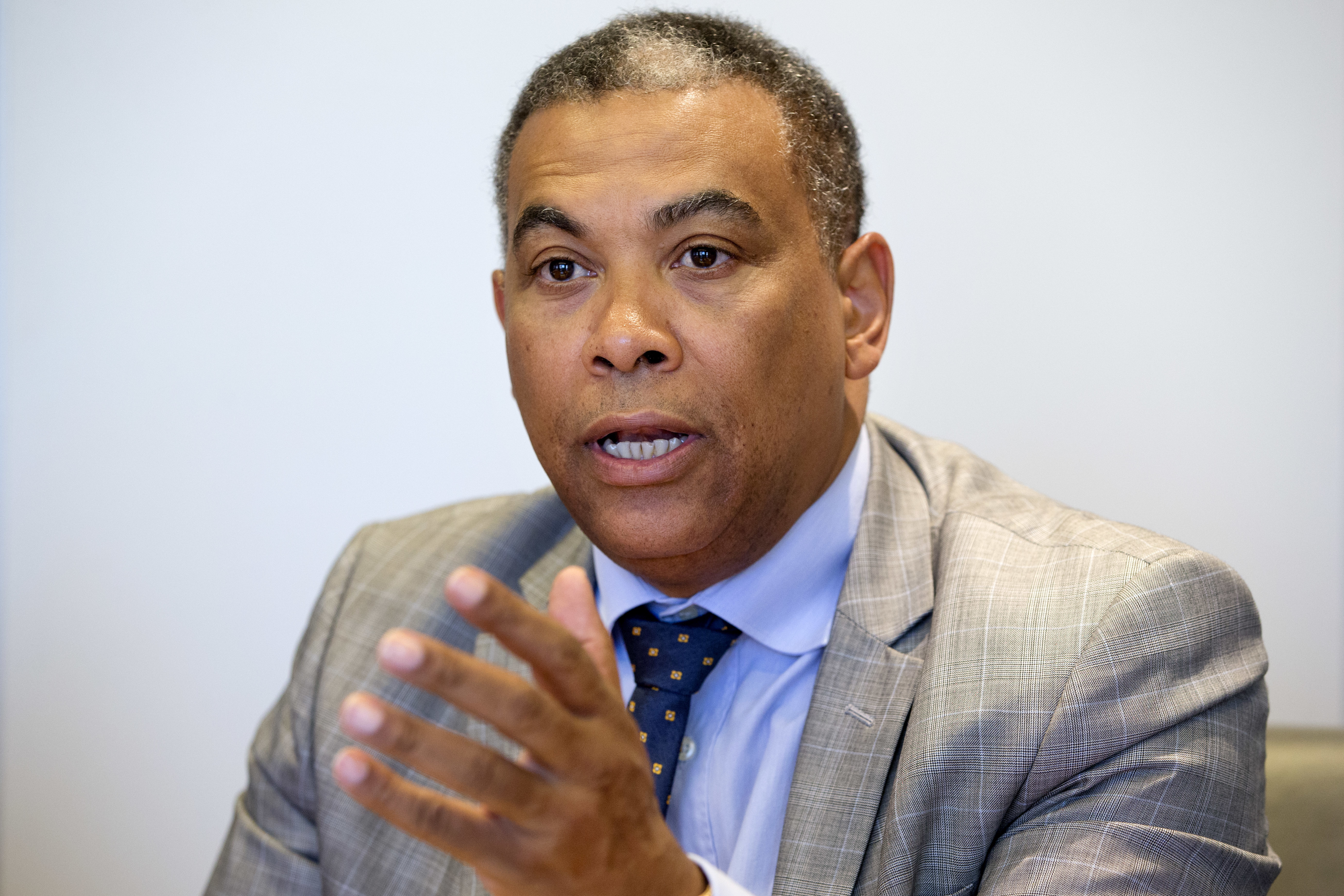 Olivier Kamitatu, Congo's former planning minister and an opponent of Congo's current president, speaks to the Associated Press in Washington, on May 16, 2016.