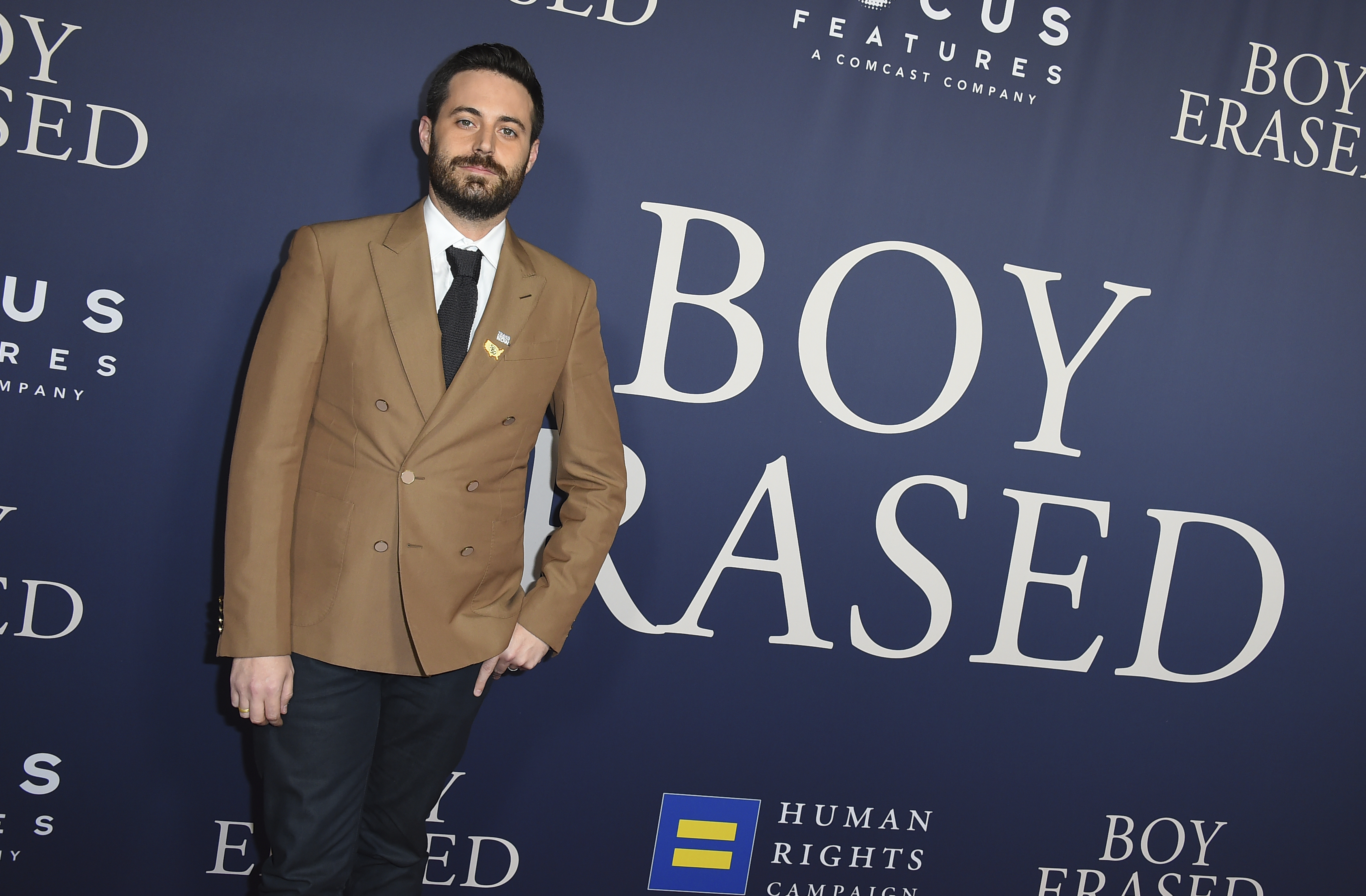 """Author Garrard Conley arrives at the Los Angeles premiere of """"Boy Erased,"""" Oct. 29, 2018, at the Directors Guild of America."""