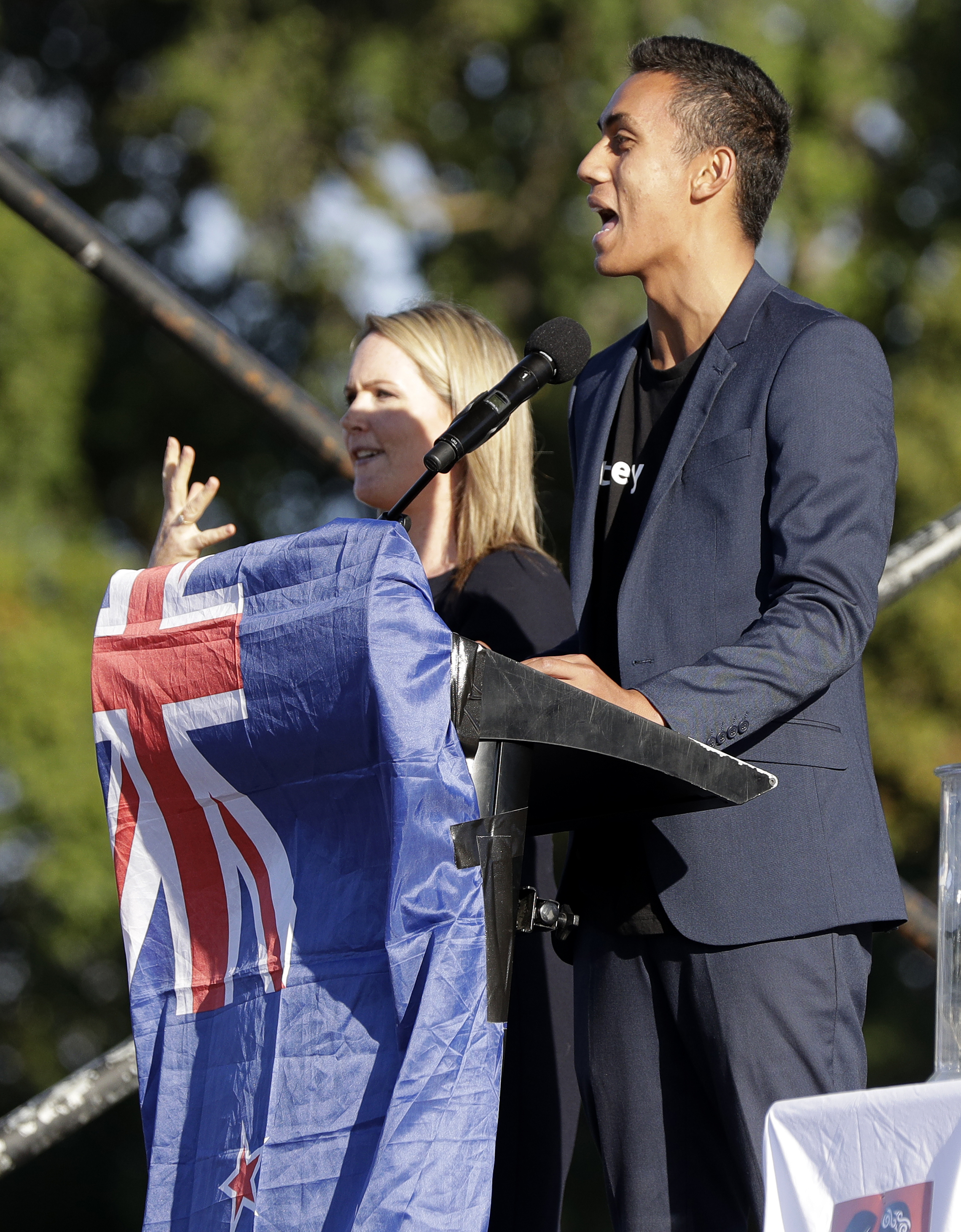 Cashmere High School head boy Okirano Tilaia addresses a vigil in Hagley Park following the March 15 mass shooting in Christchurch, New Zealand, March 24, 2019.