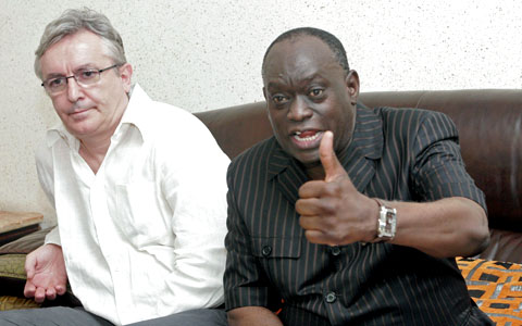 The lawyers of the deposed leader of Chad Hissene Habre, French Francois Serres (L), Senegalese El Hadj Diouf (R) hold a press conference. Senegal has suspended its plan to send Chad's former dictator Hissene Habre back to his own country, July 10, 2...
