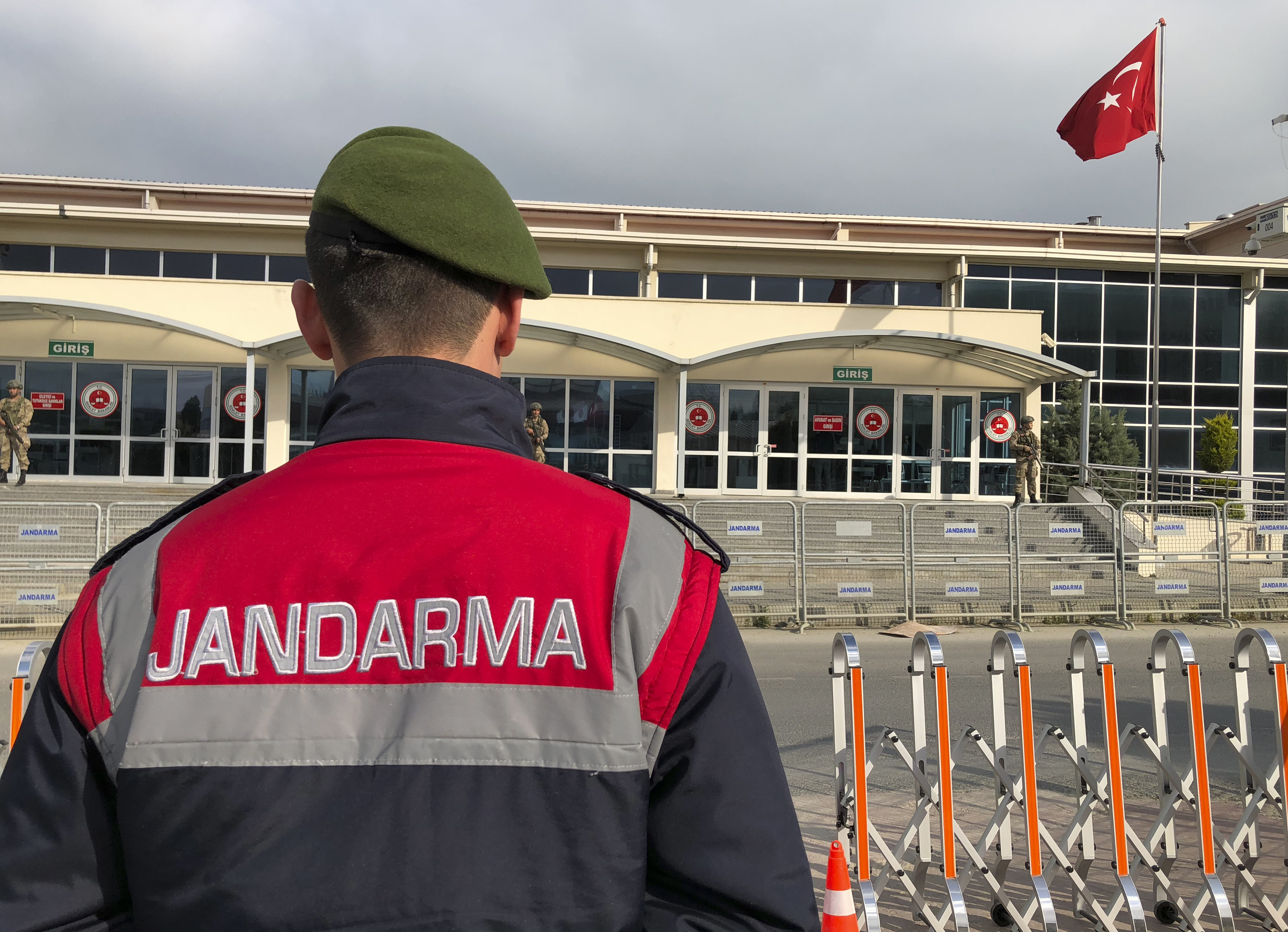 Turkish soldiers stand outside the court in a prison complex where the trial against former pro-Kurdish party co-chairman Selahattin Demirtas and legislator Sirri Sureyya Onder continues, in Silivri, outside Istanbul, April 30, 2018.