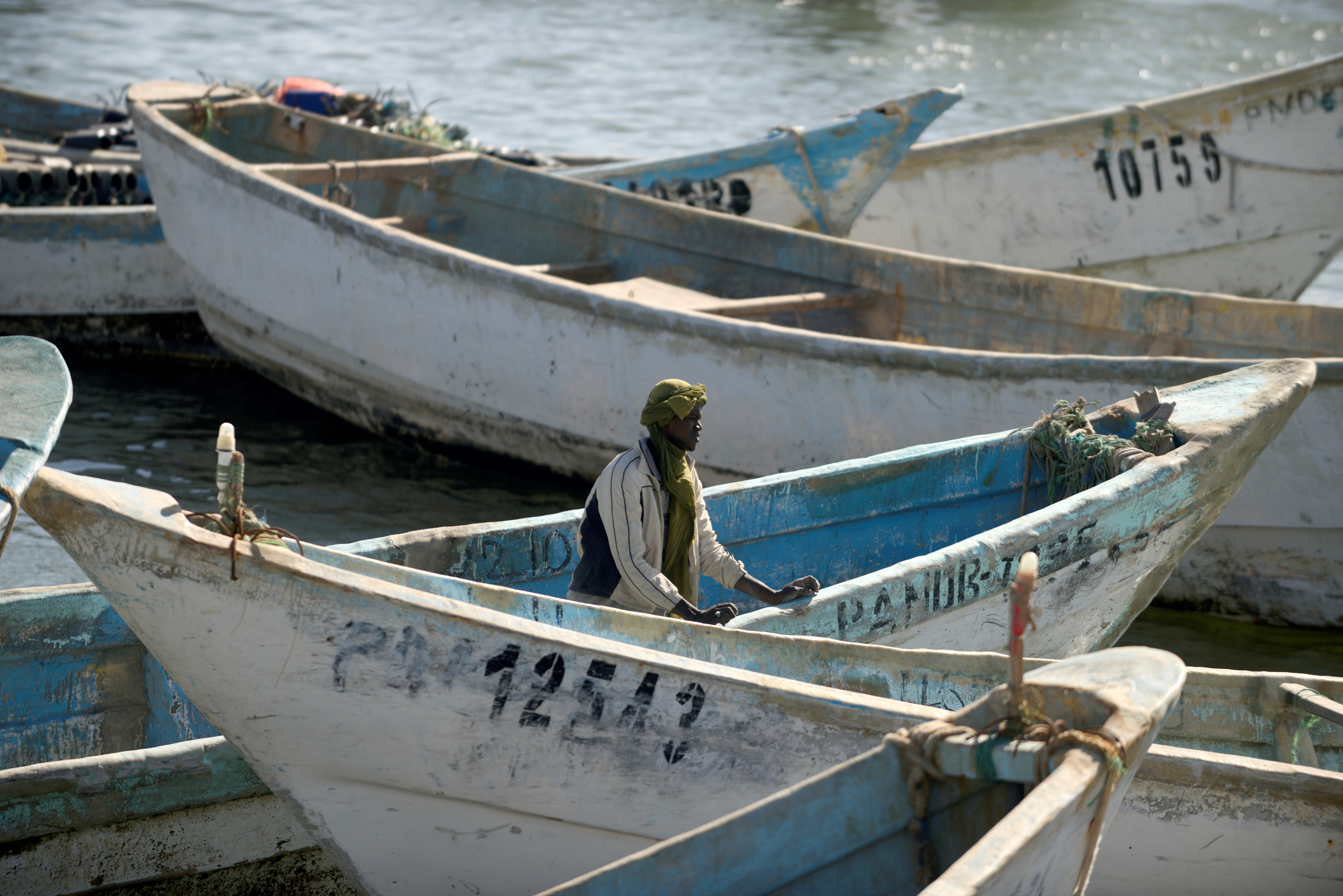Artisanal fishing boats moored in the harbor at Nouadhibou, the main port in Mauritania, April 14, 2018.