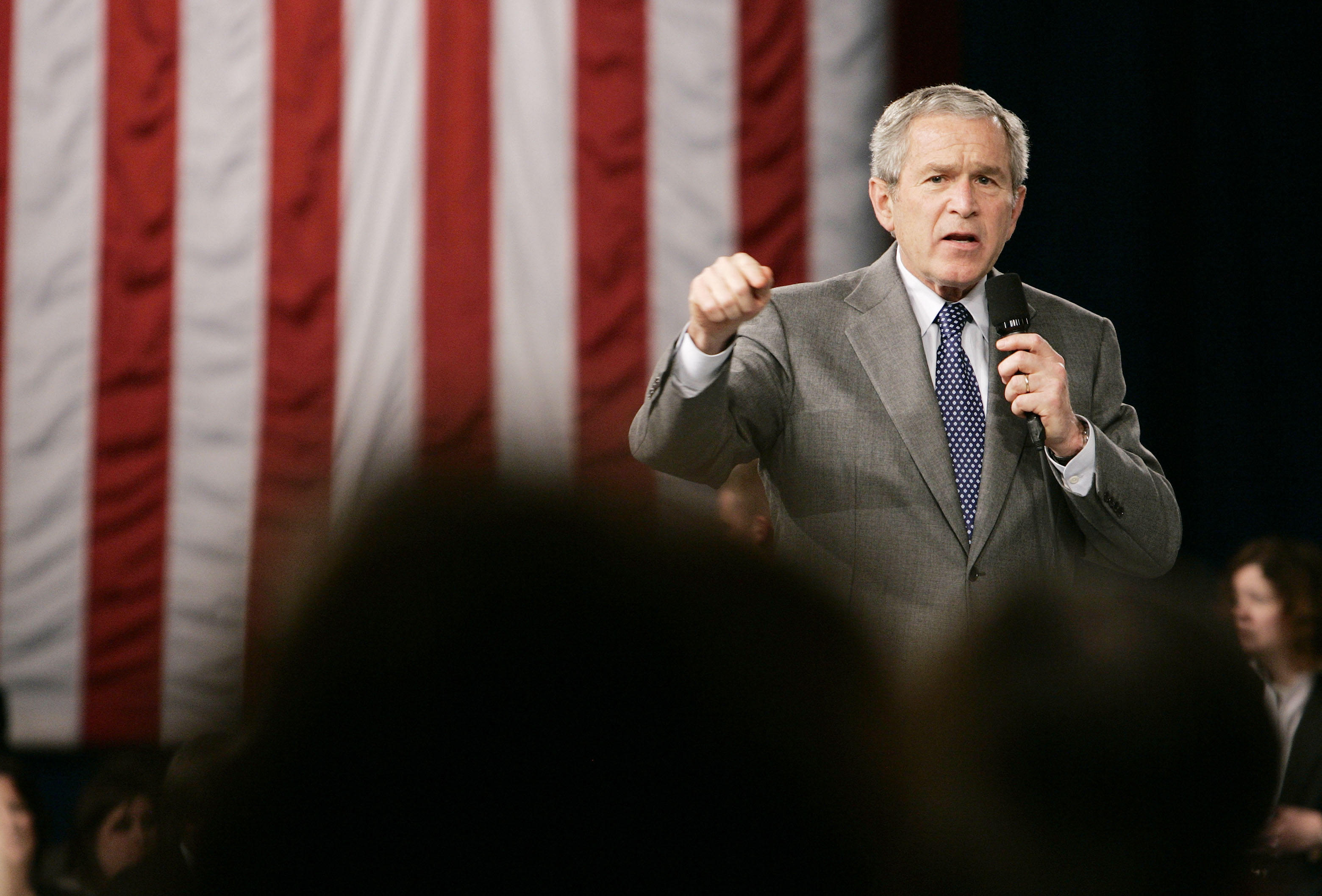 FILE - U.S. President George W. Bush speaks about his administration's war on terror while at Tippecanoe High School in Tipp City, Ohio, April 19, 2007.