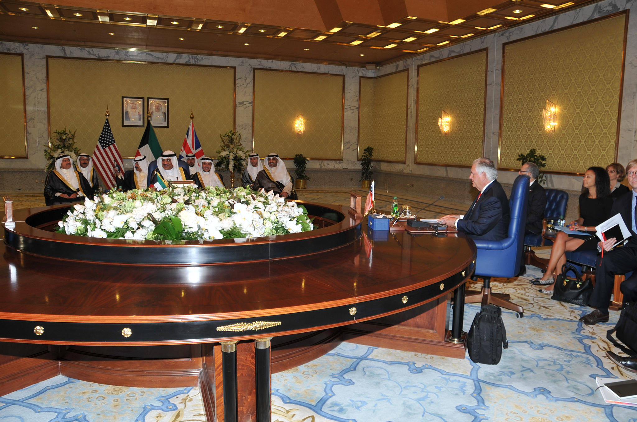 U.S. Secretary of State Rex Tillerson participates in a meeting with Foreign Minister Sheikh Sabah al-Khaled, State Minister for Cabinet Affairs and Acting Minister of Information Sheikh Mohammed al-Abdullah al-Mubarak a-Sabah, and British National S...