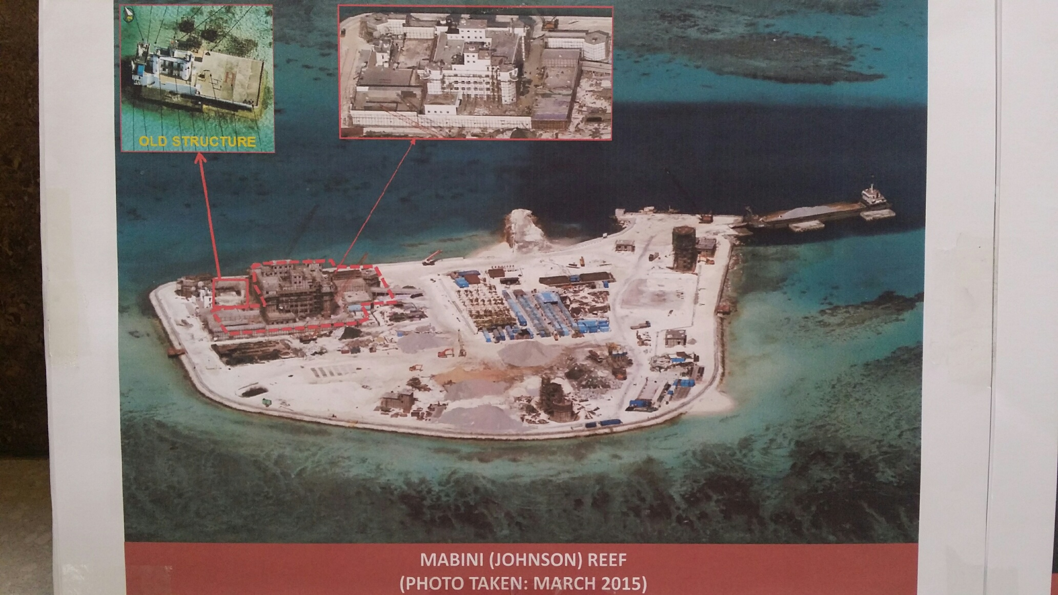 Philippine military's images of China's reclamation in the Spratlys, Mabini (Johnson) Reef, March, 2015. (Armed Forces of the Philippines)