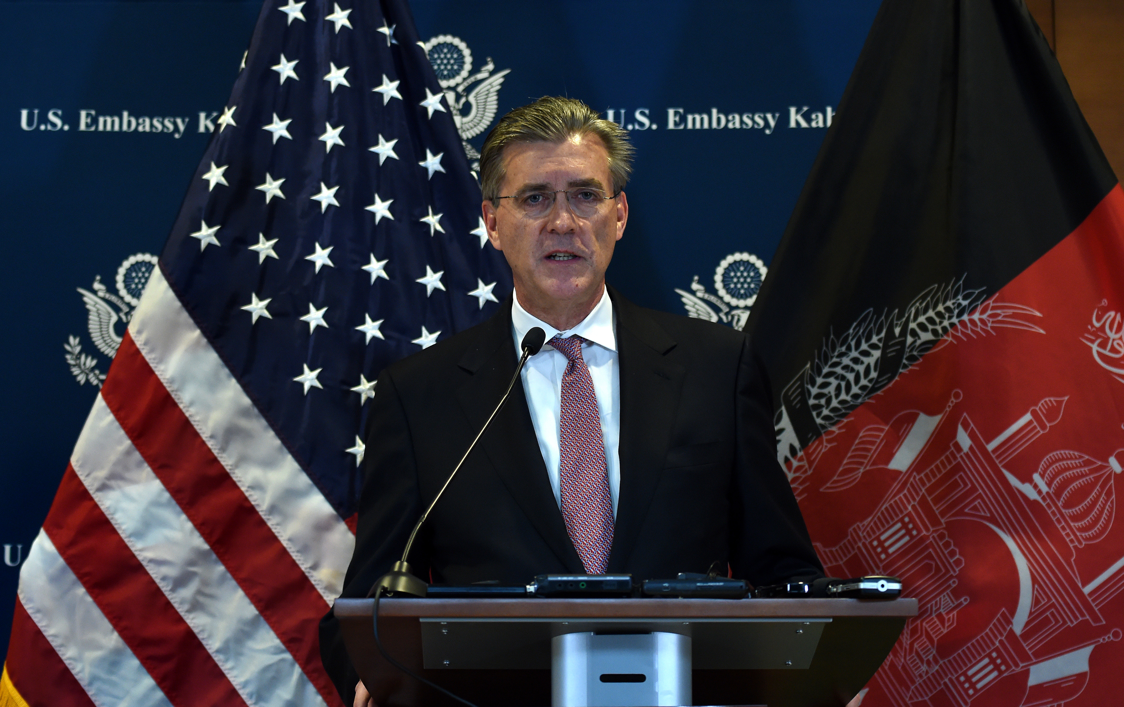 US Special Representative for Afghanistan and Pakistan, Ambassador Richard Olson speaks during a press conference at the US Embassy in Kabul, Dec. 6, 2015.