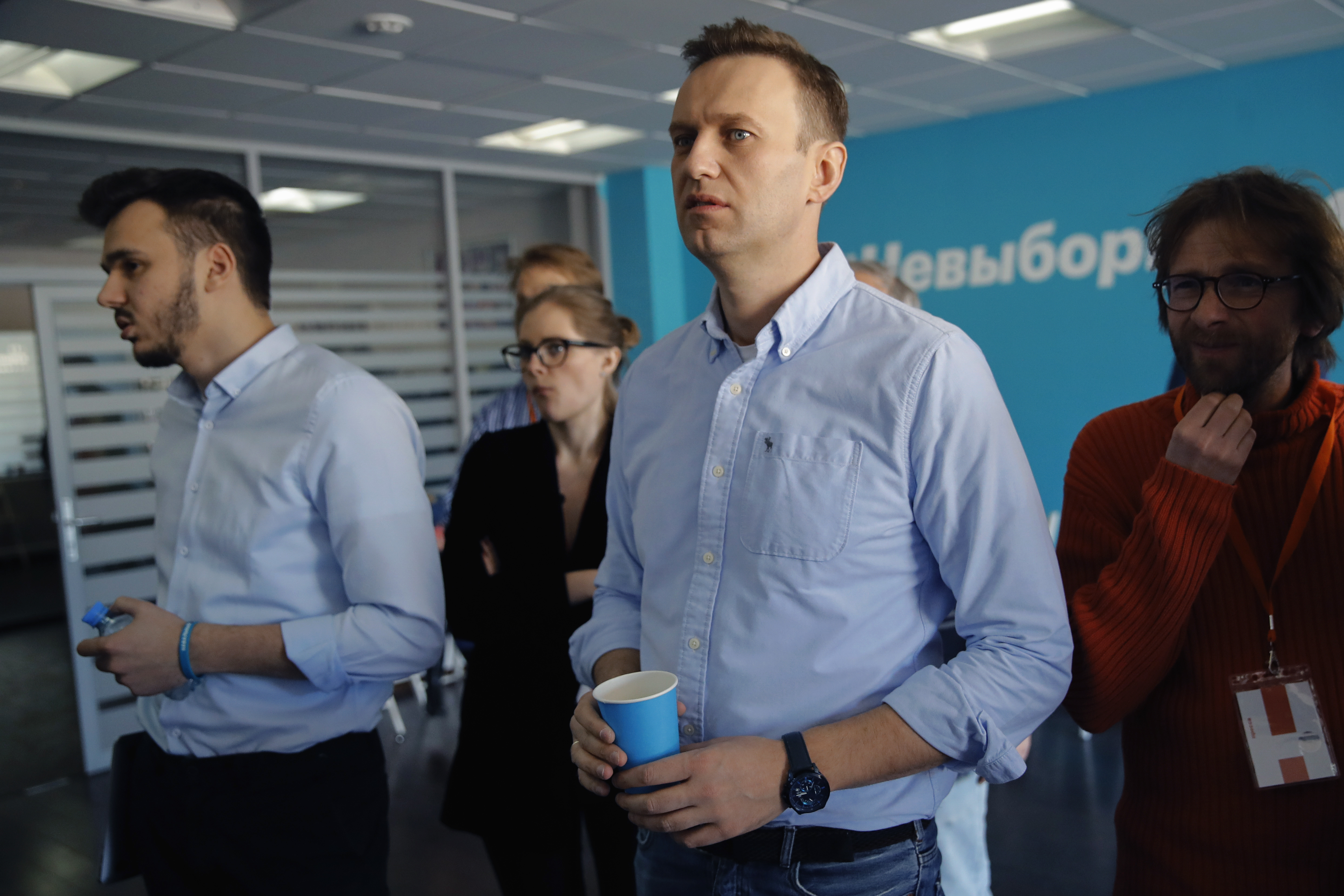 Russian opposition leader Alexei Navalny observes the election progress at his Foundation for Fighting Corruption office, in Russia, Sunday, March 18, 2018.