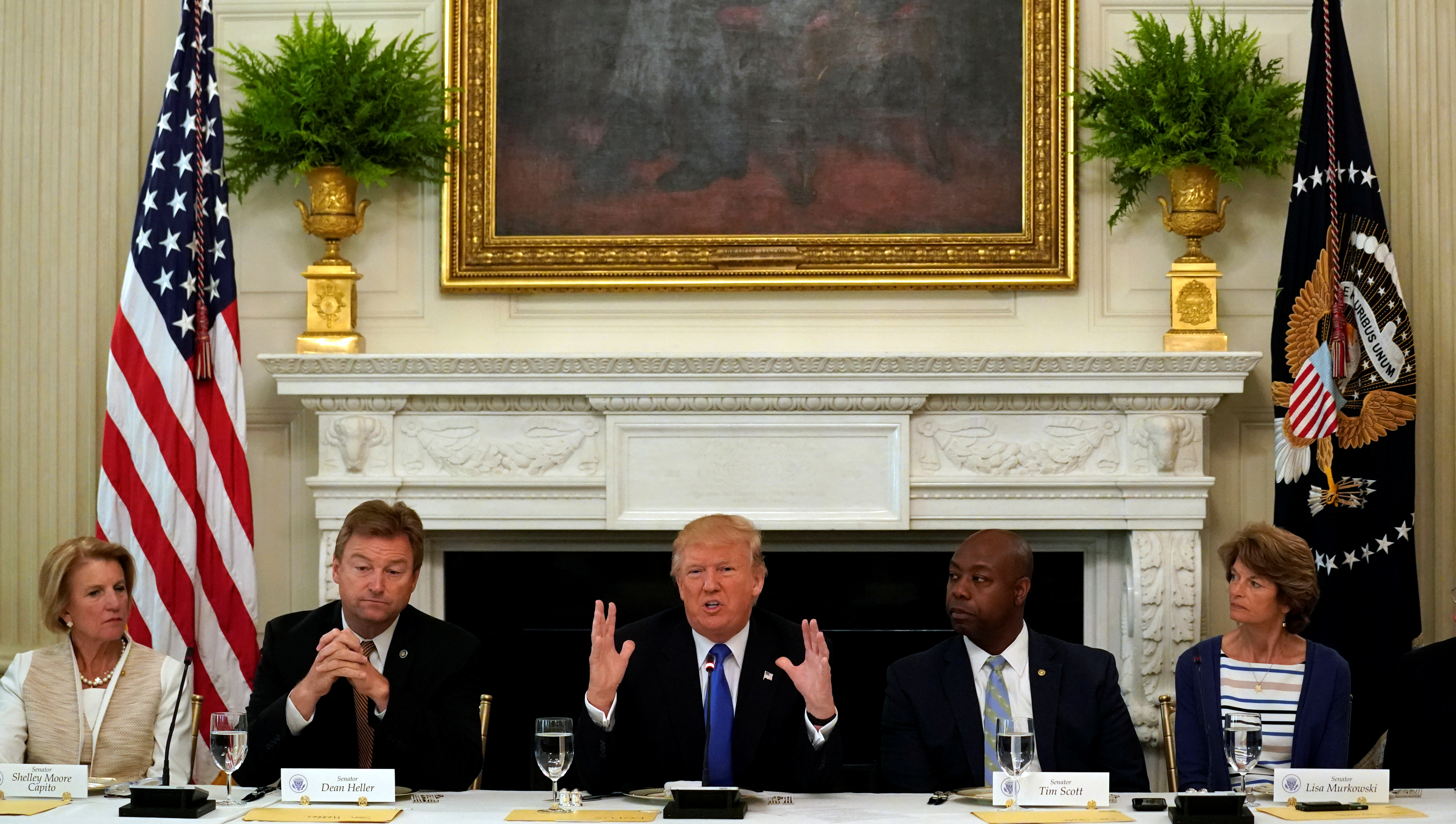 U.S. President Donald Trump speaks during a lunch meeting with Senate Republicans to discuss health care at the White House in Washington, July 19, 2017.