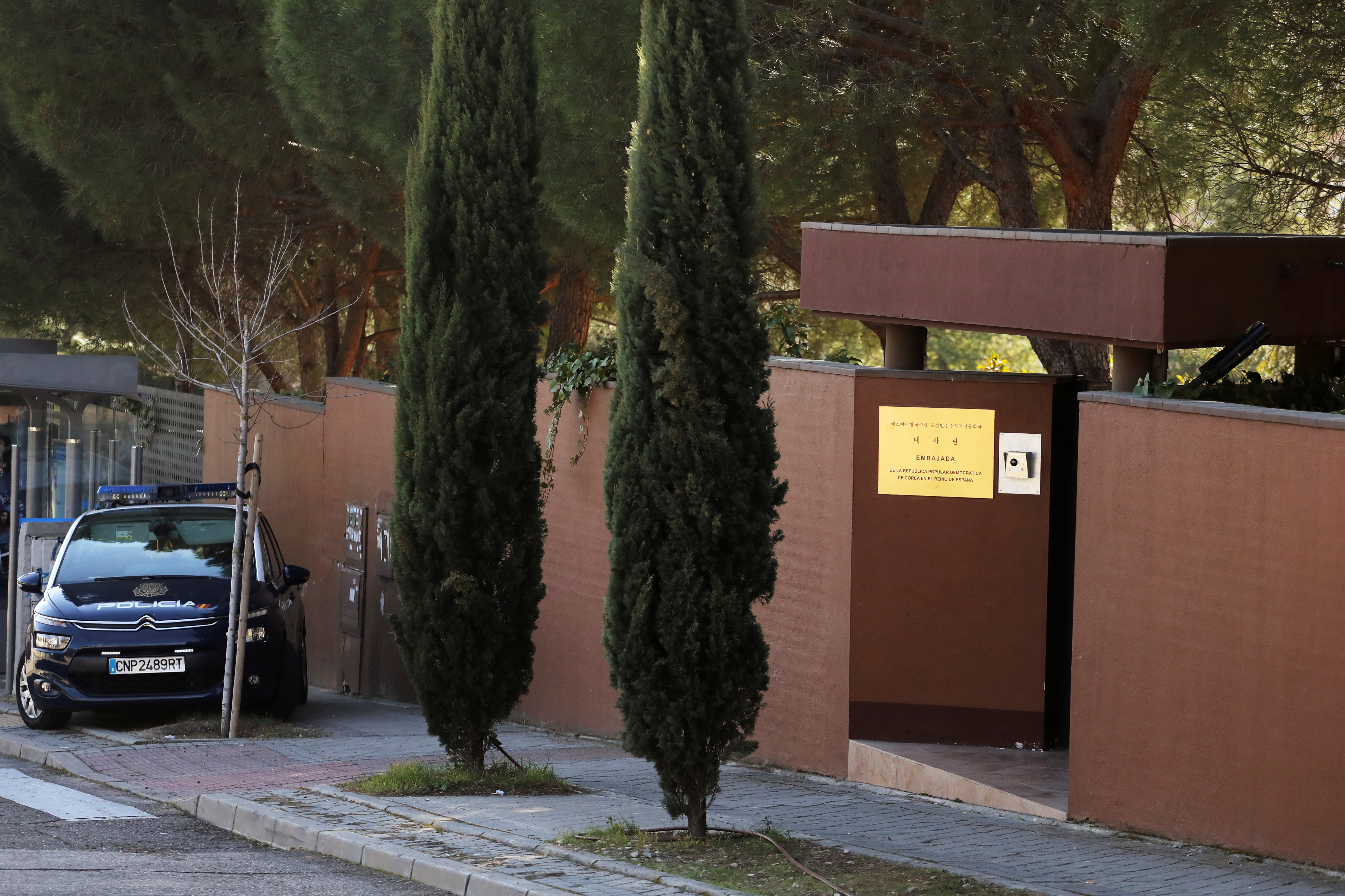 A Spanish National Police car is seen outside the North Korea's embassy in Madrid, Spain, Feb. 28, 2019.