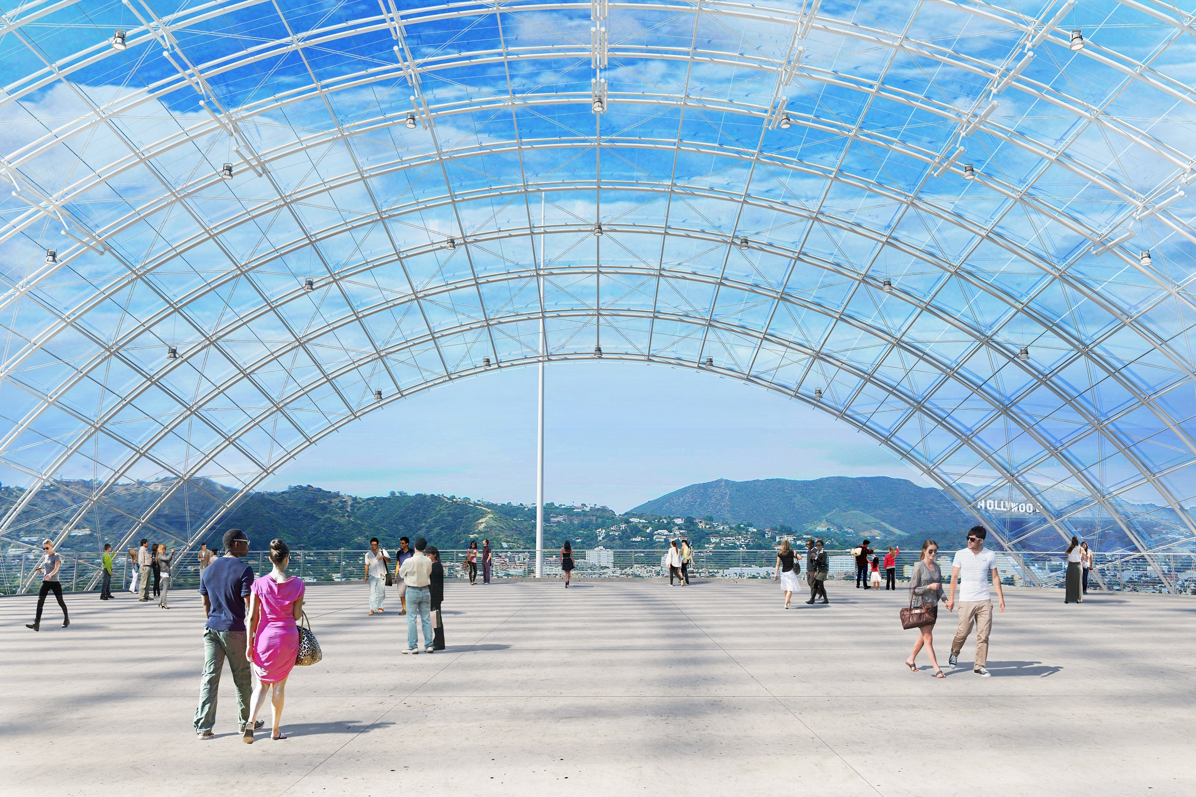 An artist's rendering of the dome at the Academy Museum of Motion Pictures. The complex will include a 1,000-seat theater and a dome with the view of the Hollywood Hills.