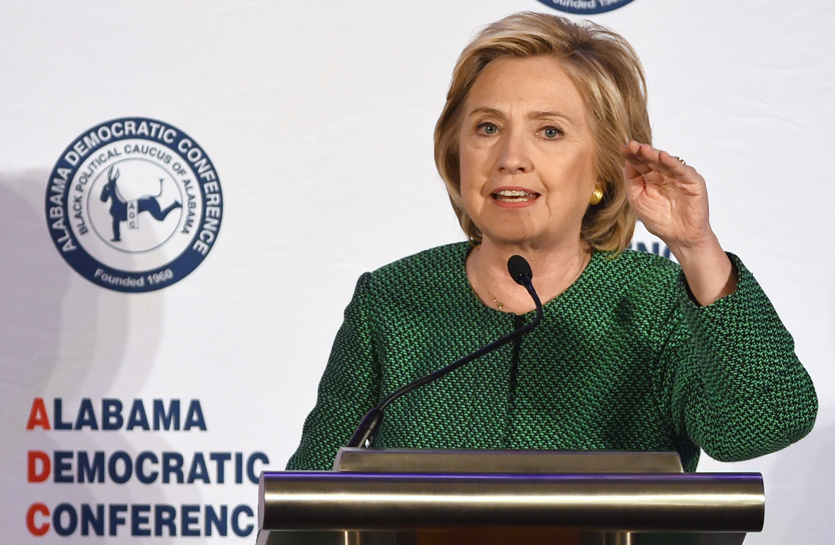 Democratic presidential candidate Hillary Rodham Clinton speaks during a meeting of the Alabama Democratic Conference in Hoover, Ala., Oct. 17, 2015.