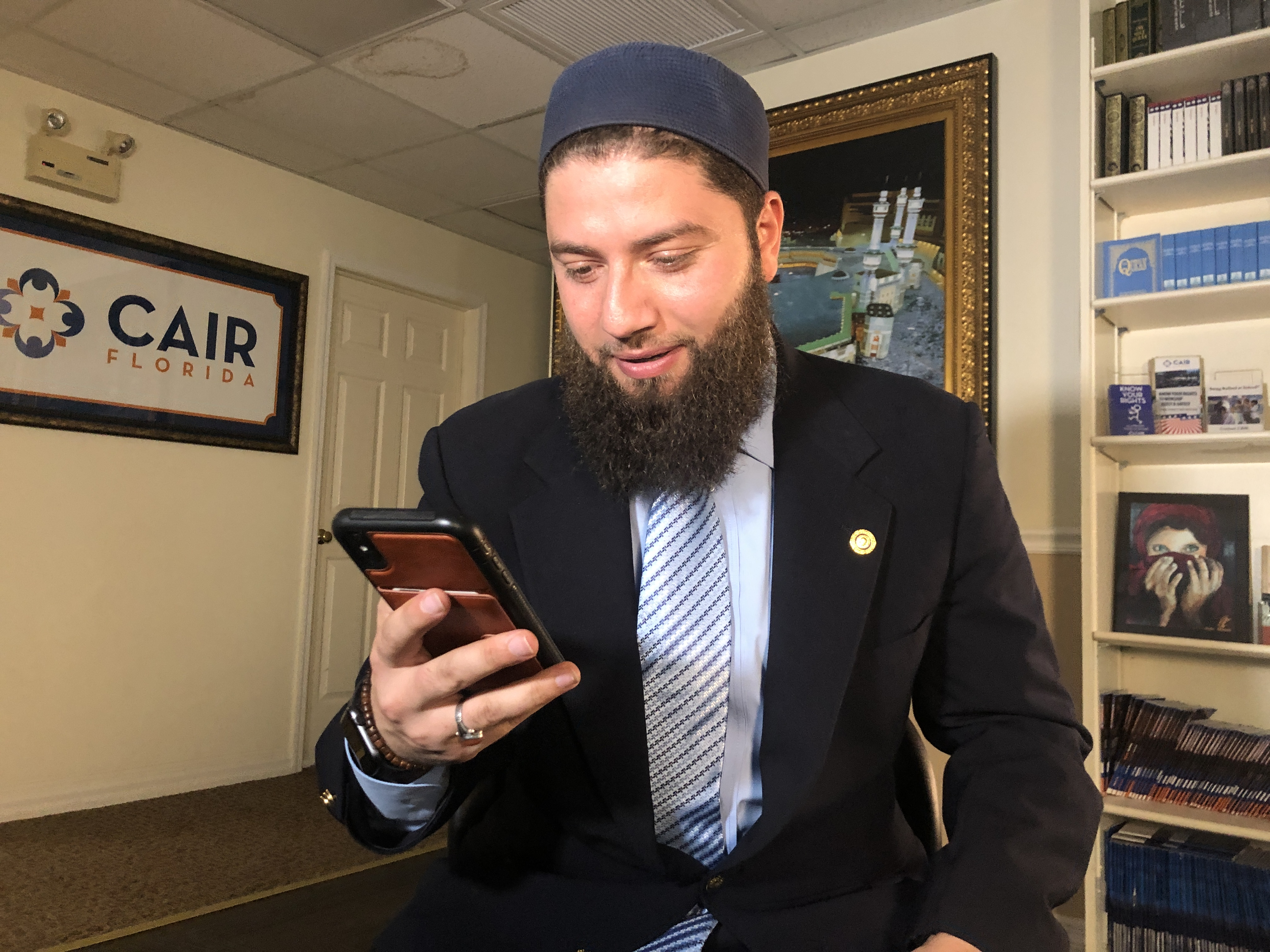 Hassan Shibly, lawyer for 24-year-old Hoda Muthana, 24, is pictured in his office in Tampa, Fla., Feb. 20, 2019.  The United States said Wednesday that it would refuse to take back Muthana, a U.S.-born Islamic State propagandist, who wants to return ...