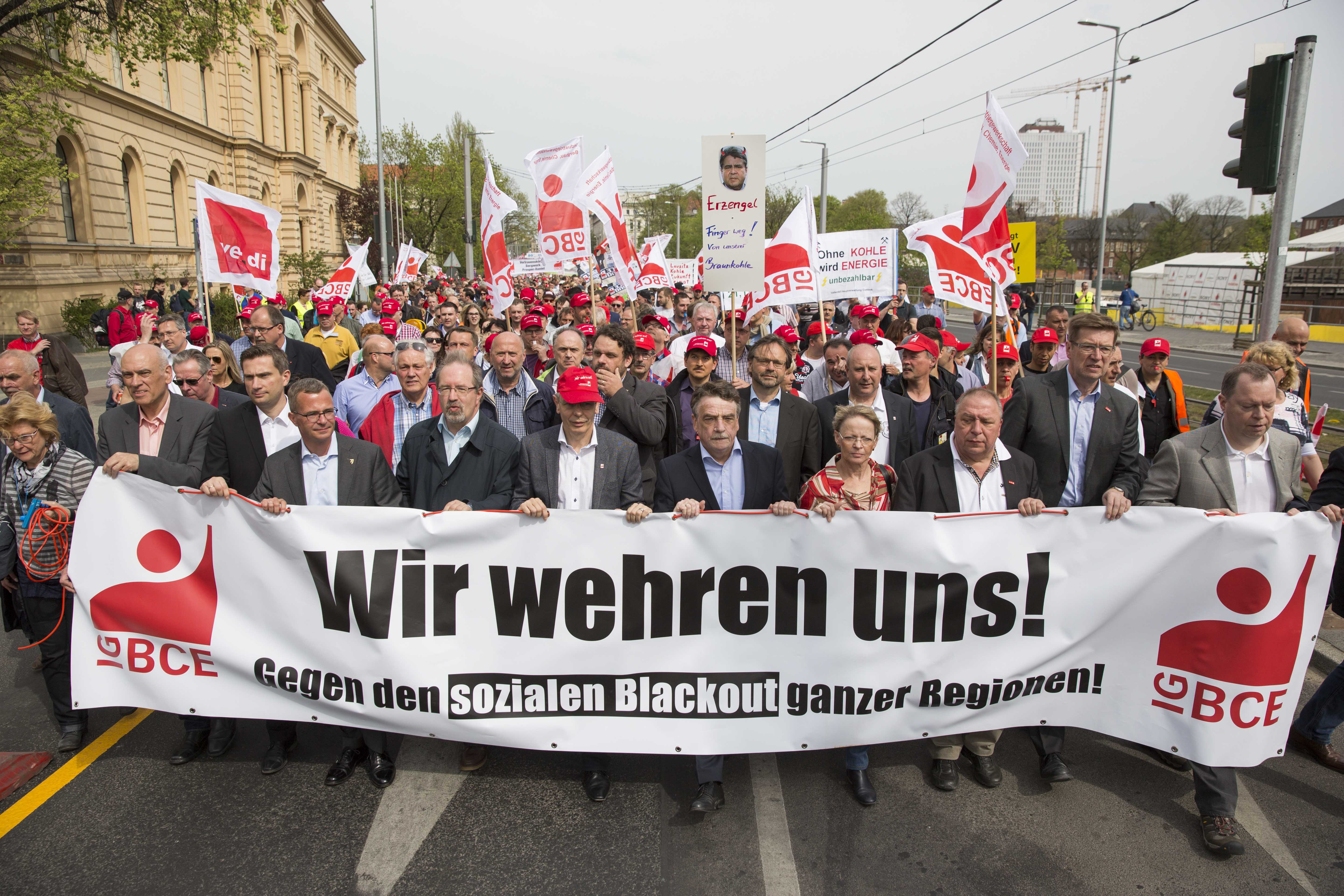 Coal miners and energy workers took to the streets of Berlin to protest a planned tax on emissions from lignite coal plants, April 25, 2015.