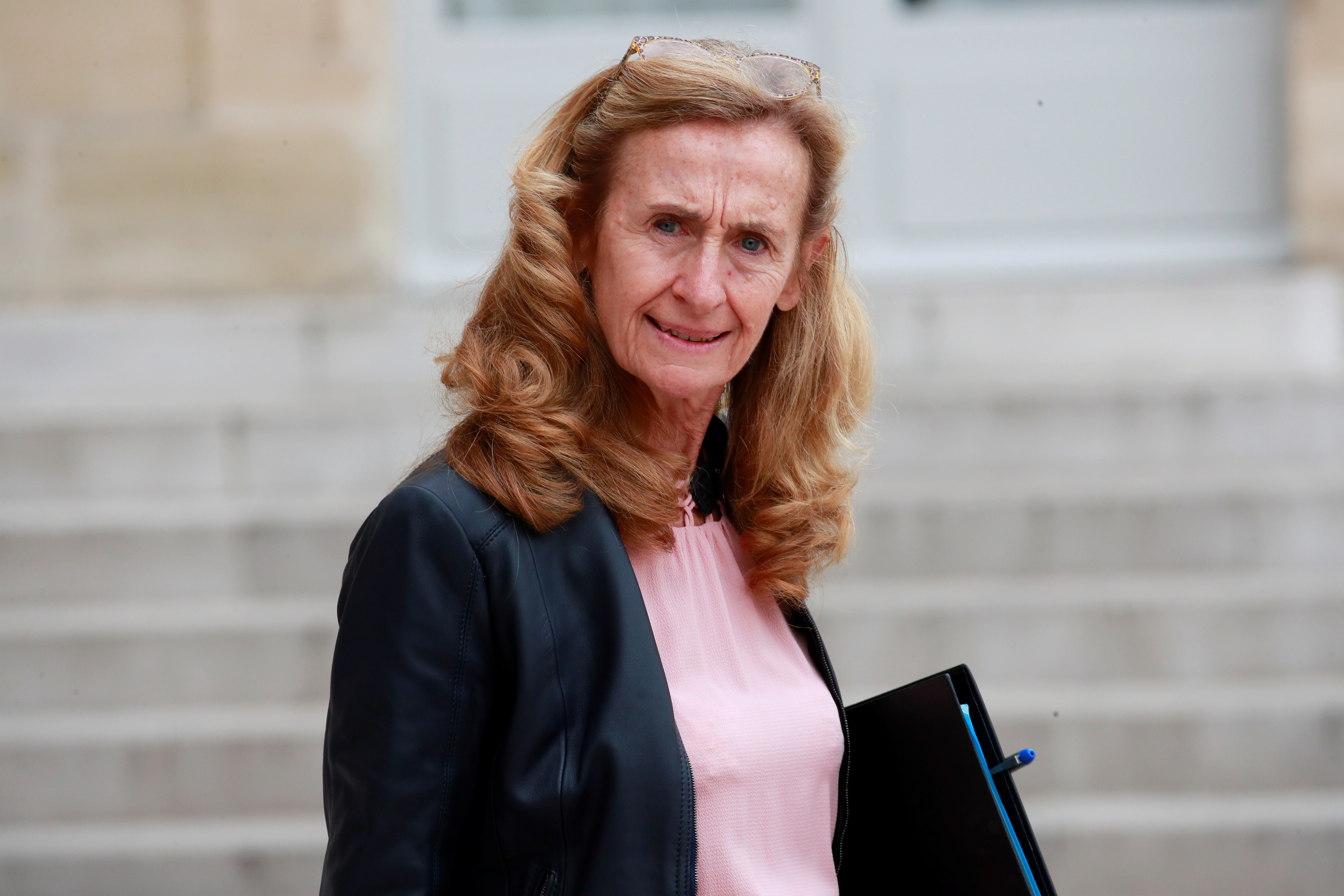 French Justice Minister Nicole Belloubet leaves following the weekly cabinet meeting at the Elysee Palace in Paris, France, Oct. 17, 2018.