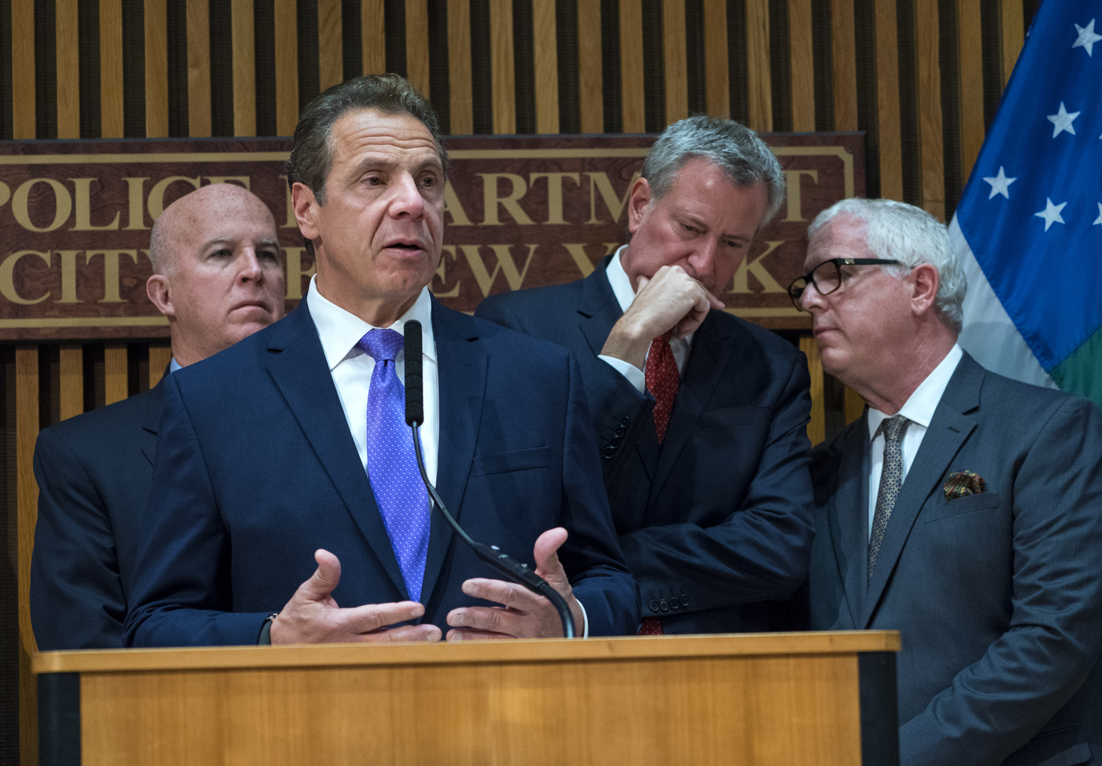 New York Gov. Andrew Cuomo speaks during a news conference, Nov. 1, 2017, in New York in the wake of a fatal truck attack. From left are Police Commissioner James P. O'Neill, Cuomo, Mayor Bill de Blasio, and Deputy Commissioner of Intelligence & Coun...
