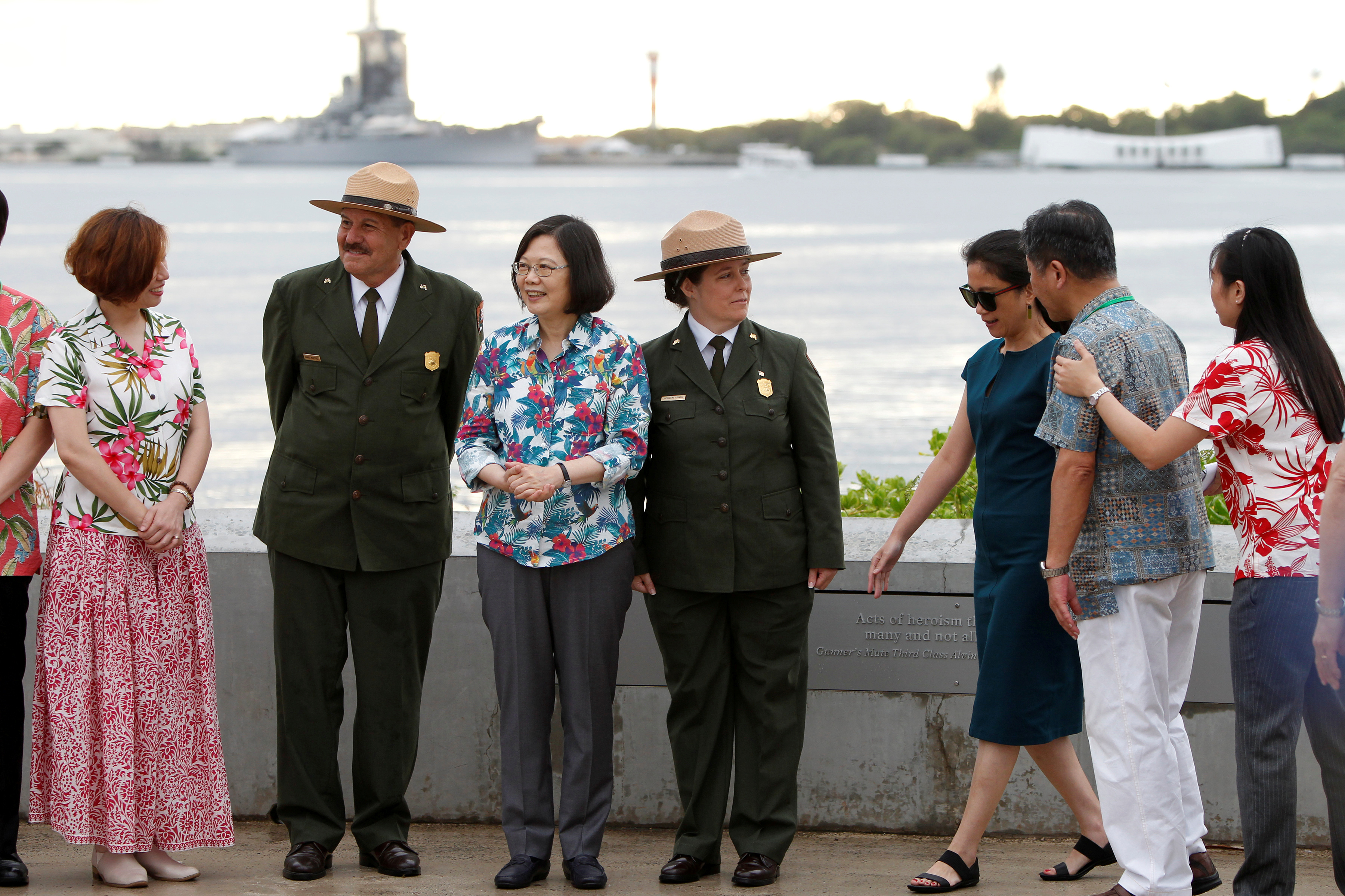 Taiwan's President Tsai Ing-wen, third from left, while en route to Pacific island allies, stands with delegates and National Park Service members at the USS Arizona Memorial at Pearl Harbor near Honolulu, Hawaii, Oct. 28, 2017.