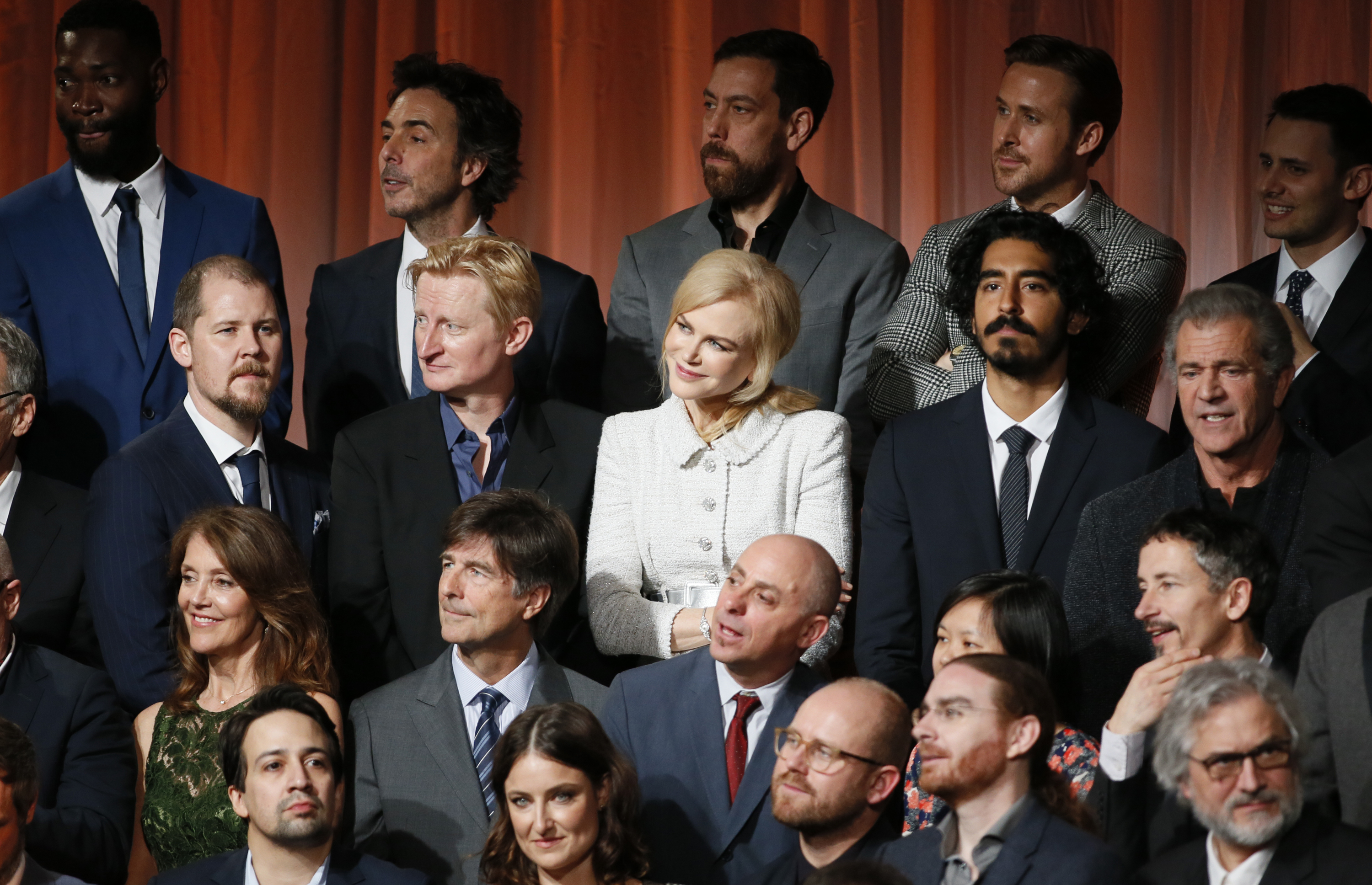 Nicole Kidman, middle row, third from left, Dev Patel, Mel Gibson and nominees at the 89th Academy Awards Nominees Luncheon at The Beverly Hilton Hotel, Feb. 6, 2017, in Beverly Hills, Calif.