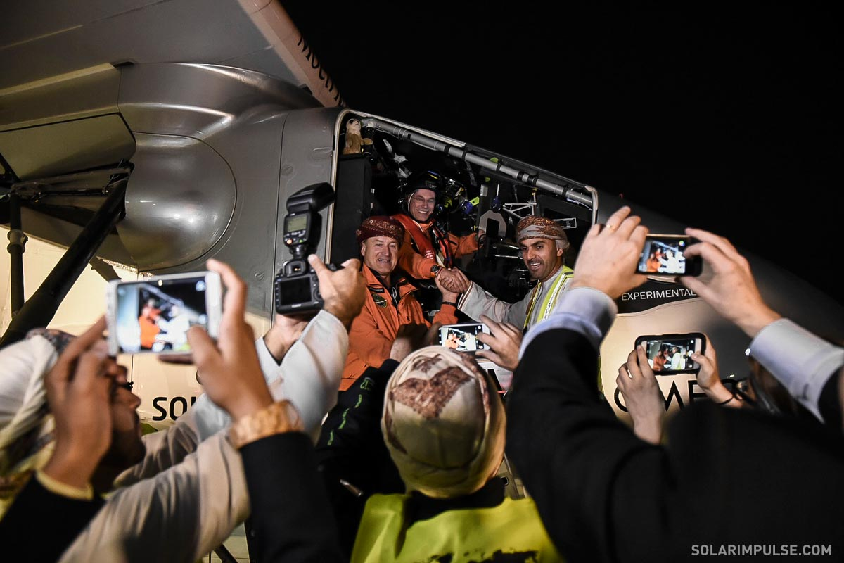 Solar Impulse before flying to Ahmedabad, India, after a pit stop in Muscat, Oman, March 10, 2015. (Credit: Solar Impulse)