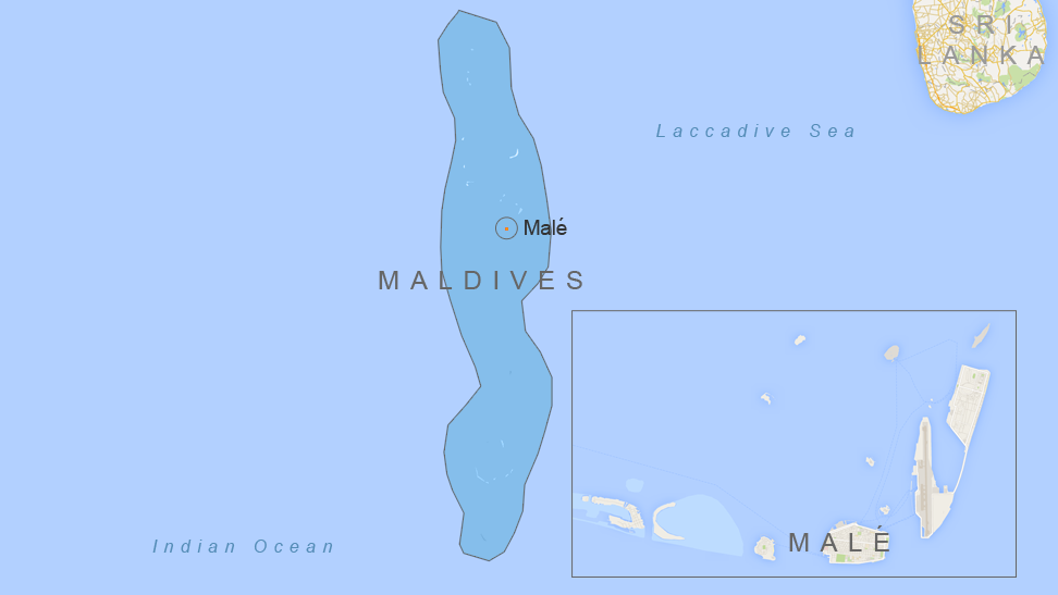 The island nation of Maldives, showing its capital, Malé