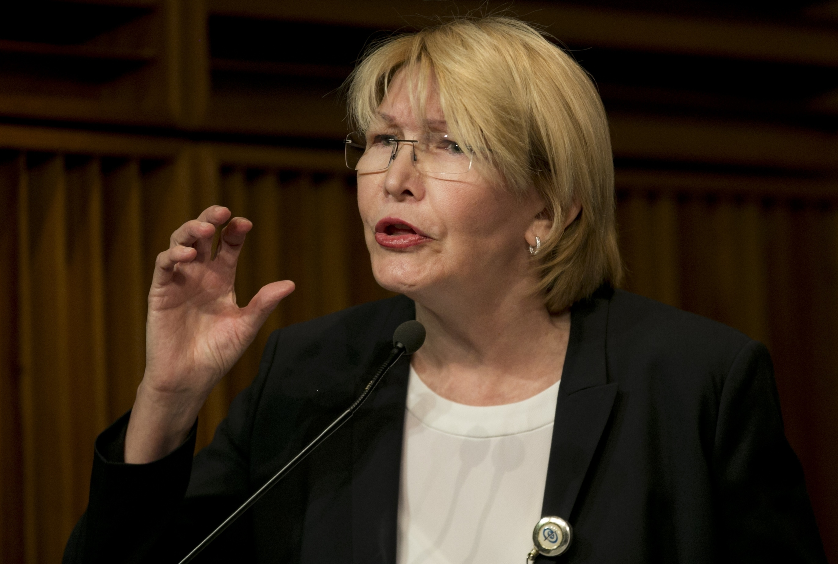 FILE - In this April 25, 2017, photo, Venezuela's Chief Prosecutor Luisa Ortega speaks during a news conference at her office in Caracas, Venezuela. Ortega has ordered some detained protesters to be freed after determining there was not enough eviden...