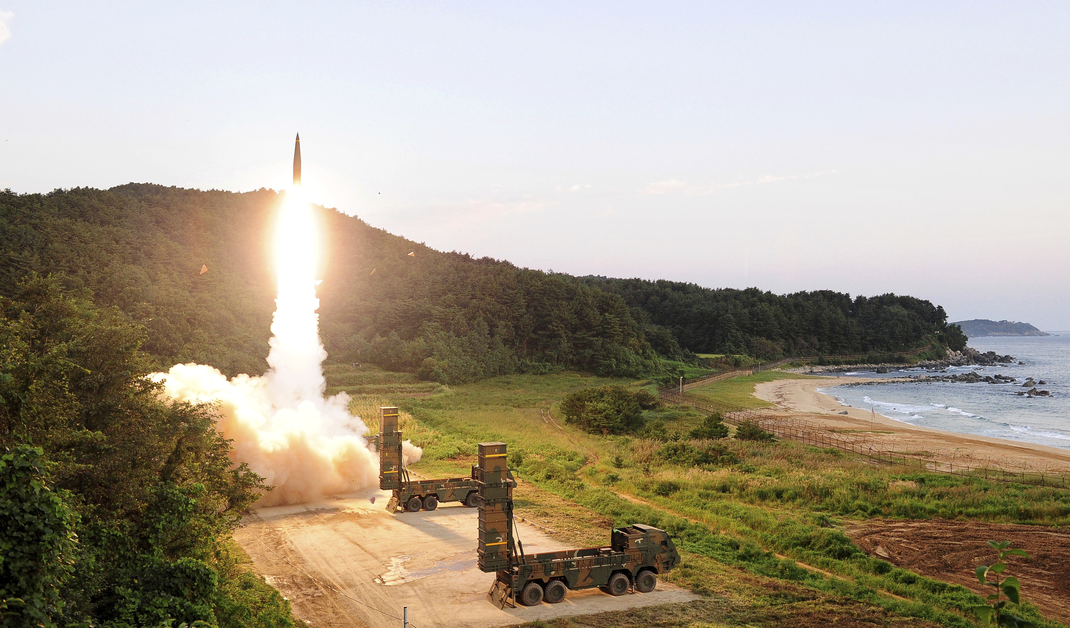 In this photo provided by South Korea Defense Ministry, South Korea's Hyunmoo II ballistic missile is fired during an exercise at an undisclosed location in South Korea, Sept. 4, 2017.