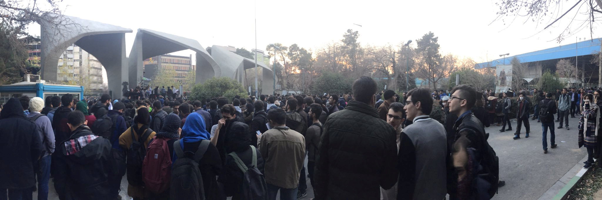 People protest near the University of Tehran, Iran, Dec. 30, 2017, in this photo obtained from social media.