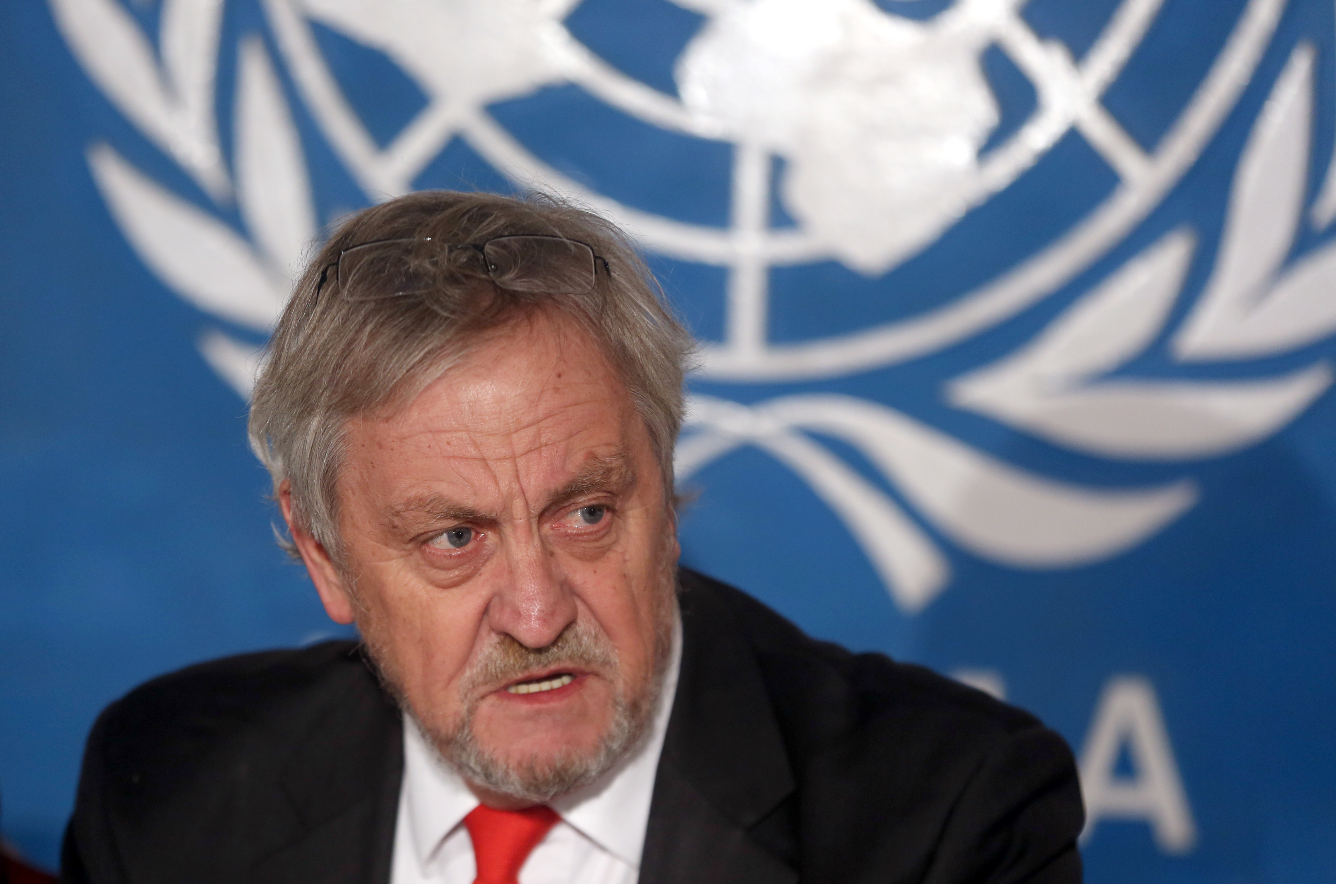 Then the top UN envoy in Afghanistan, Nicholas Haysom speaks during a press conference in Kabul, Feb. 18, 2015.