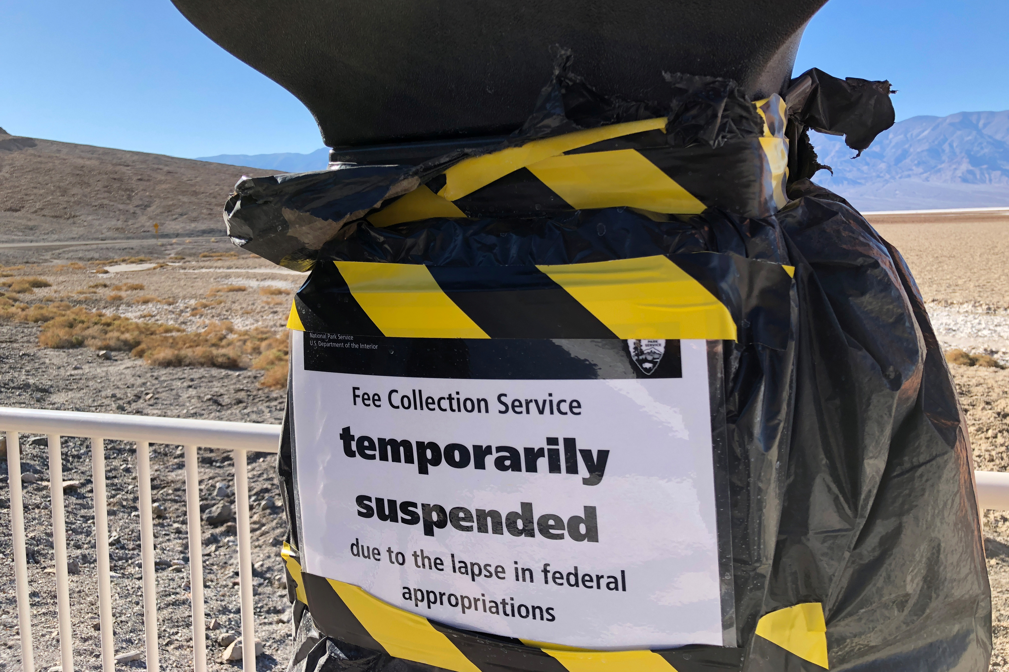 A National Park entrance fee collection service is temporarily suspended at Badwater Basin in Death Valley National Park, the lowest point in North America, during the partial U.S. government shutdown, in Death Valley, California, U.S., Jan. 10, 2019...