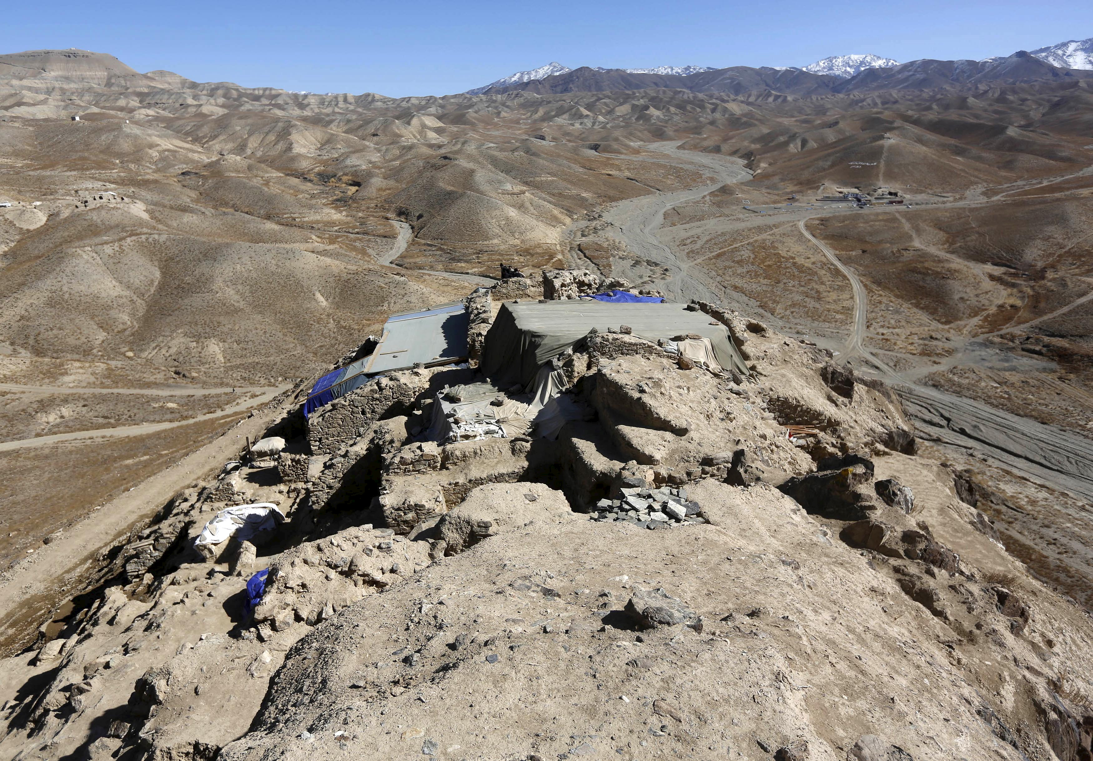 The ruins of an ancient temple in Mes Aynak, Logar province, Afghanistan are seen in this Feb. 14, 2015 file. The copper lying beneath the ancient Buddhist ruins is one of the world's largest untapped deposits.