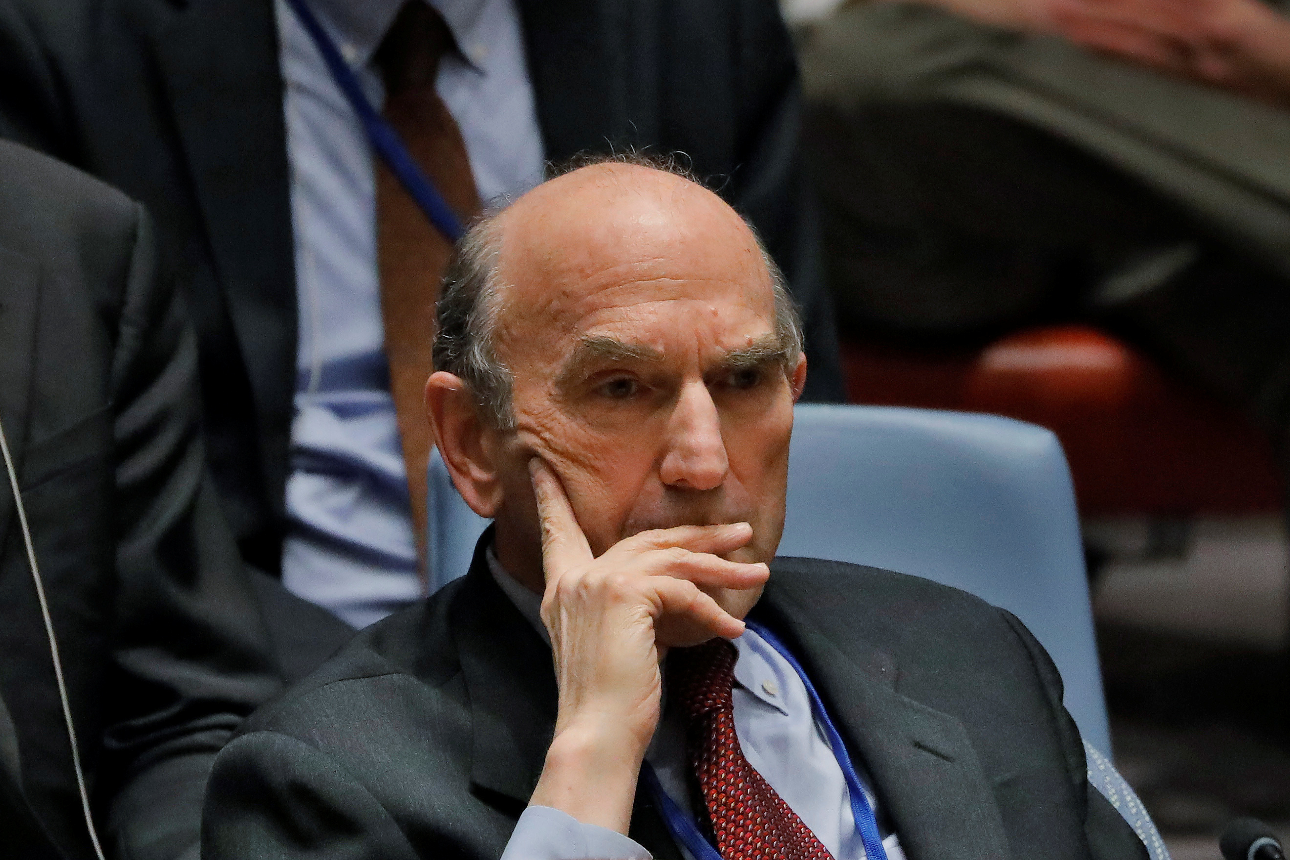 U.S. diplomat Elliott Abrams listens during a meeting of the U.N. Security Council called to discuss the Venezuelan situation at U.N. headquarters in New York, Feb. 28, 2019.