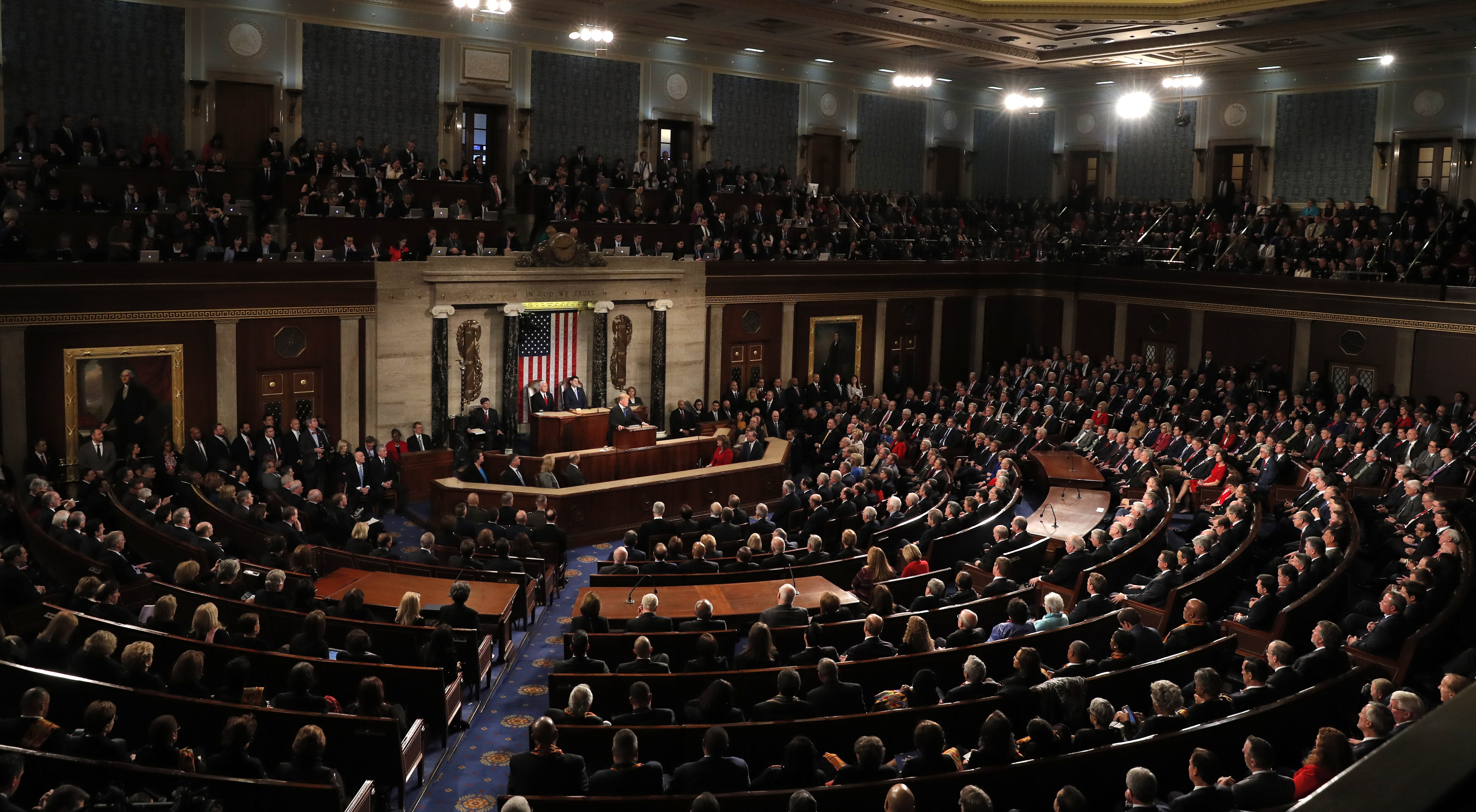 U.S. President Donald Trump delivers his State of the Union address to a joint session of the U.S. Congress on Capitol Hill in Washington, Jan. 30, 2018.