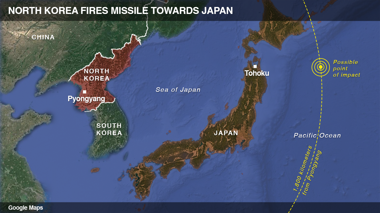 North Korea launches missile towards Japan