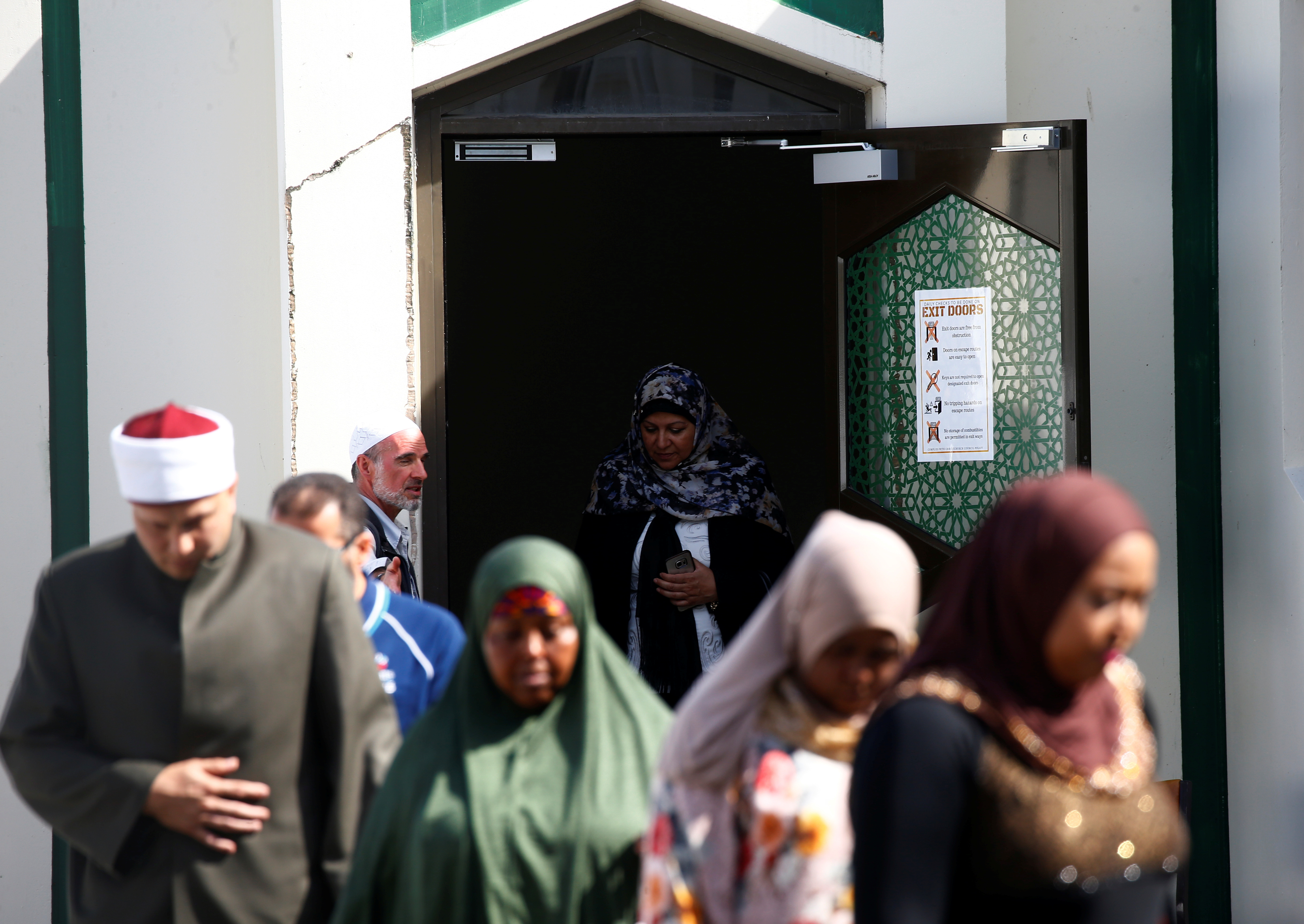 Members of the Muslim community visit Al Noor mosque after it was reopened in Christchurch, New Zealand, March 23, 2019.