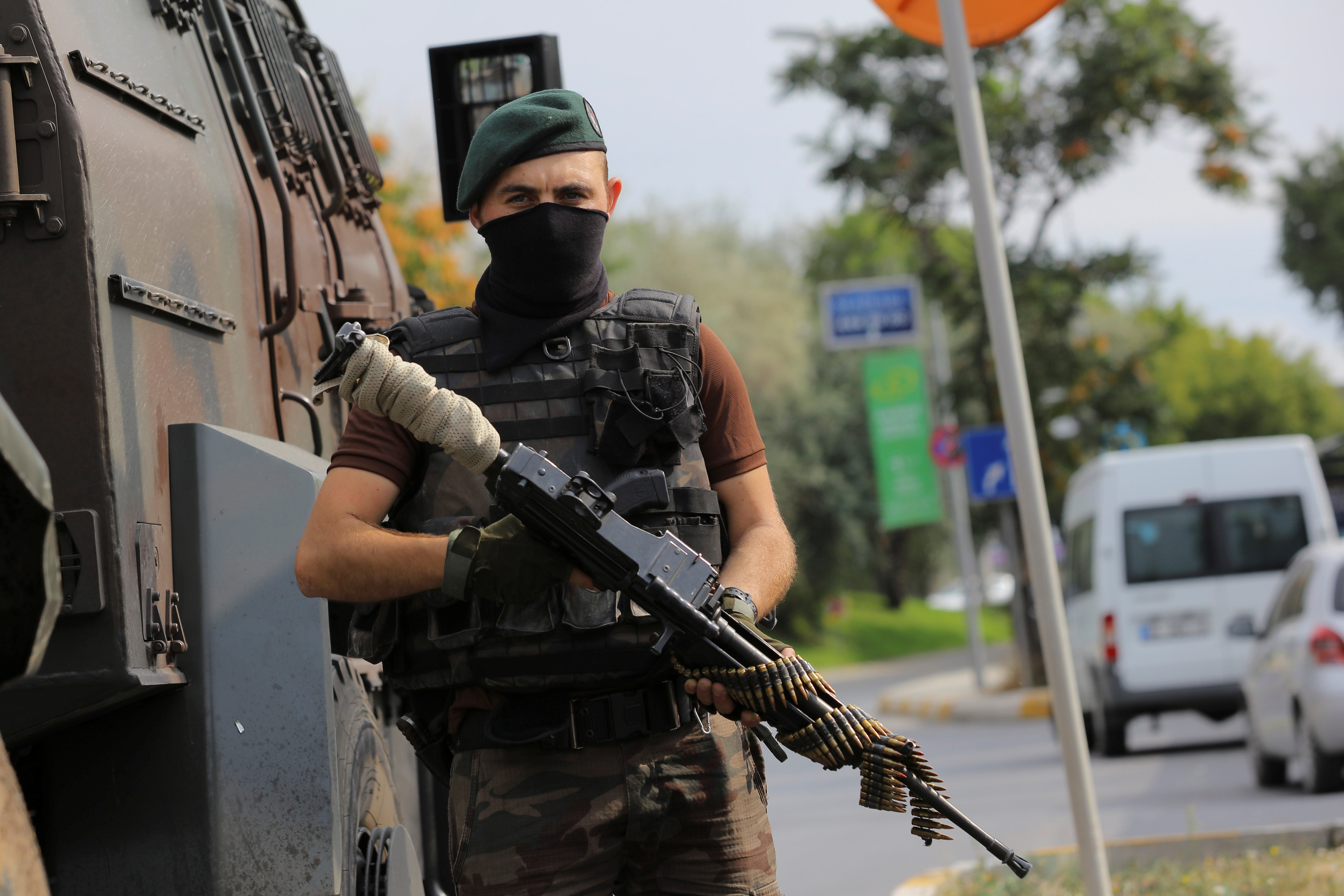 A police special forces member stands guard on a street in Istanbul, Turkey, July 18, 2016.