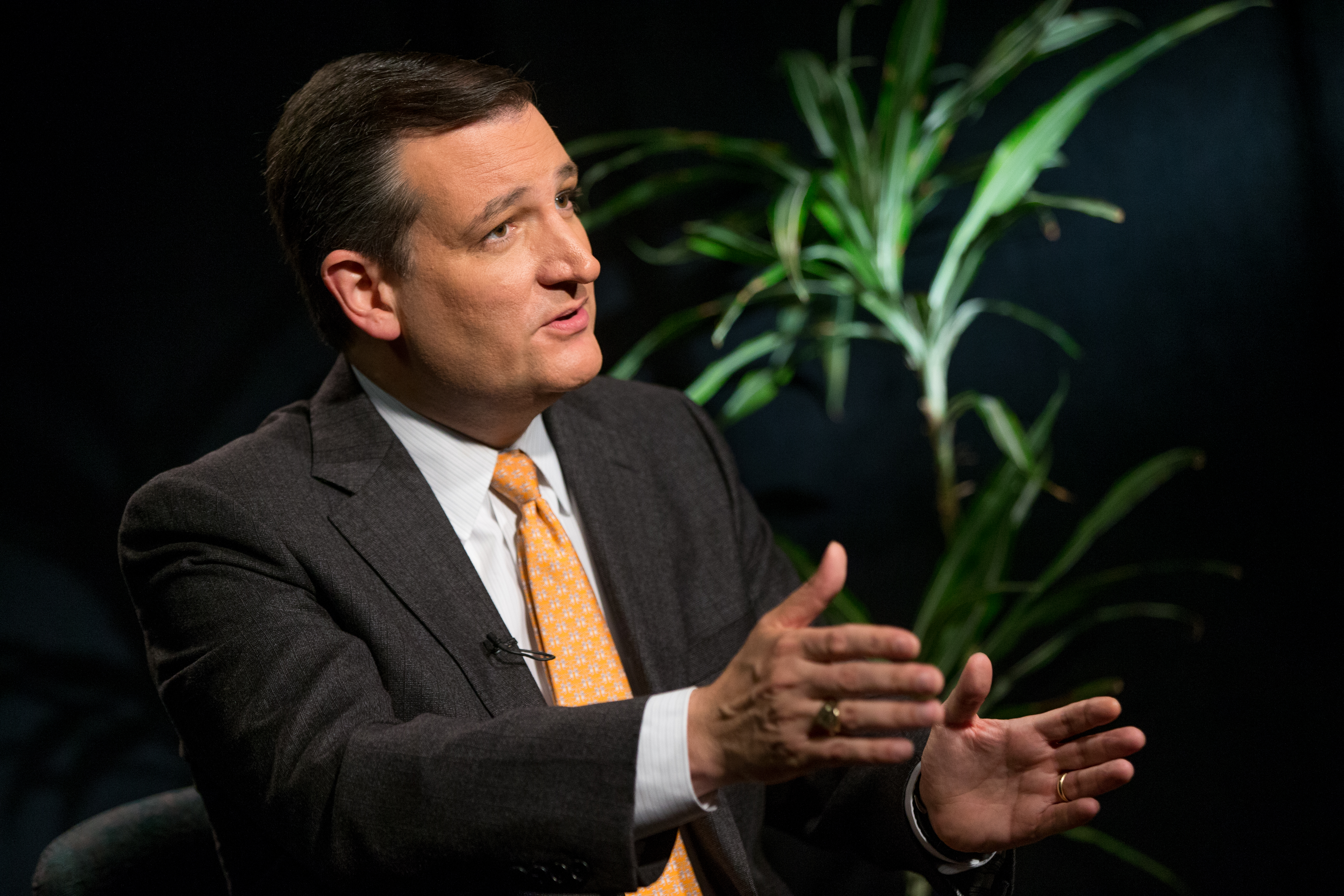 Republican presidential candidate Sen. Ted Cruz, speaks during an interview with The Associated Press in Washington, Dec. 1, 2015.
