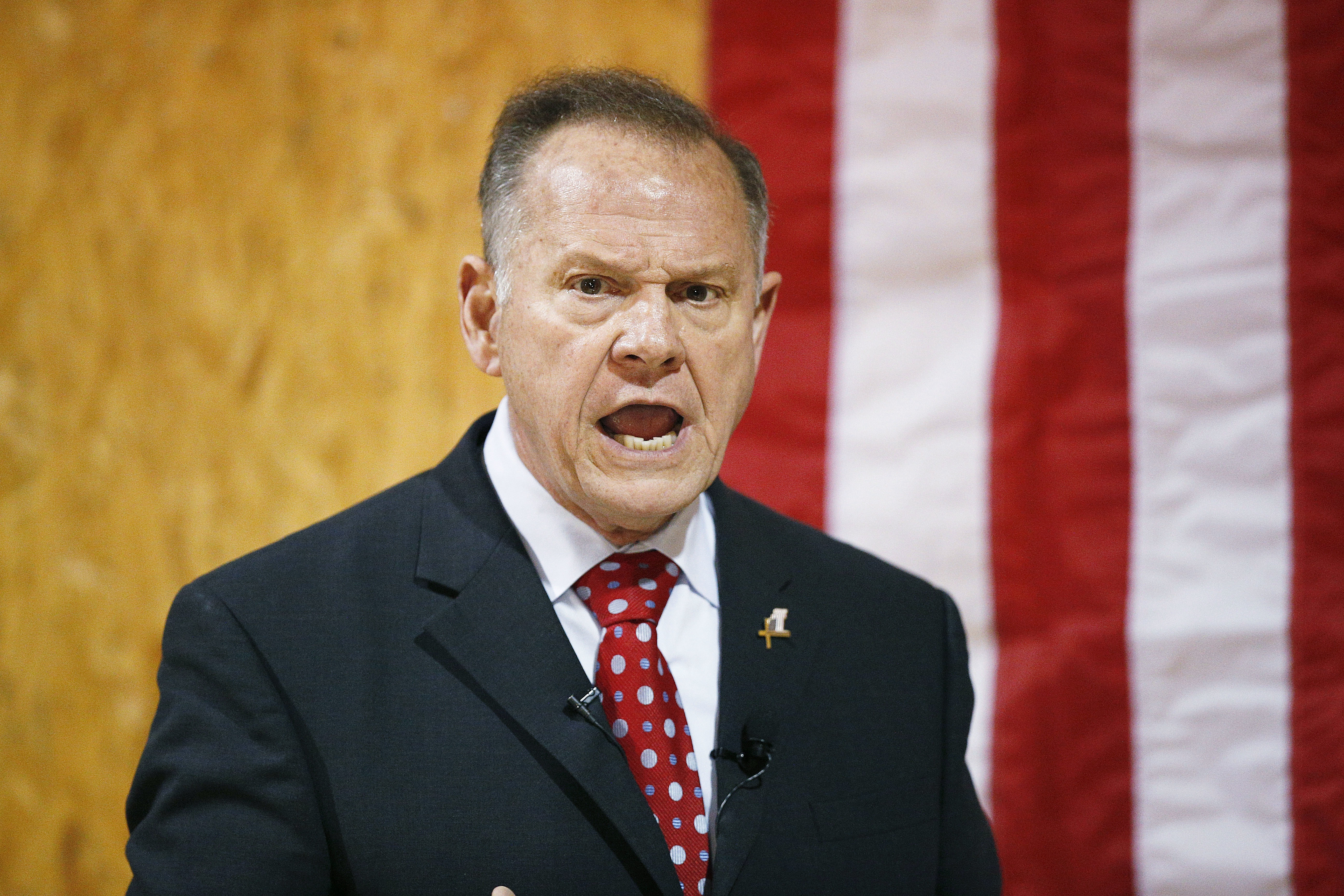 FILE -  former Alabama Chief Justice and U.S. Senate candidate Roy Moore speaks at a campaign rally, in Dora, Ala.