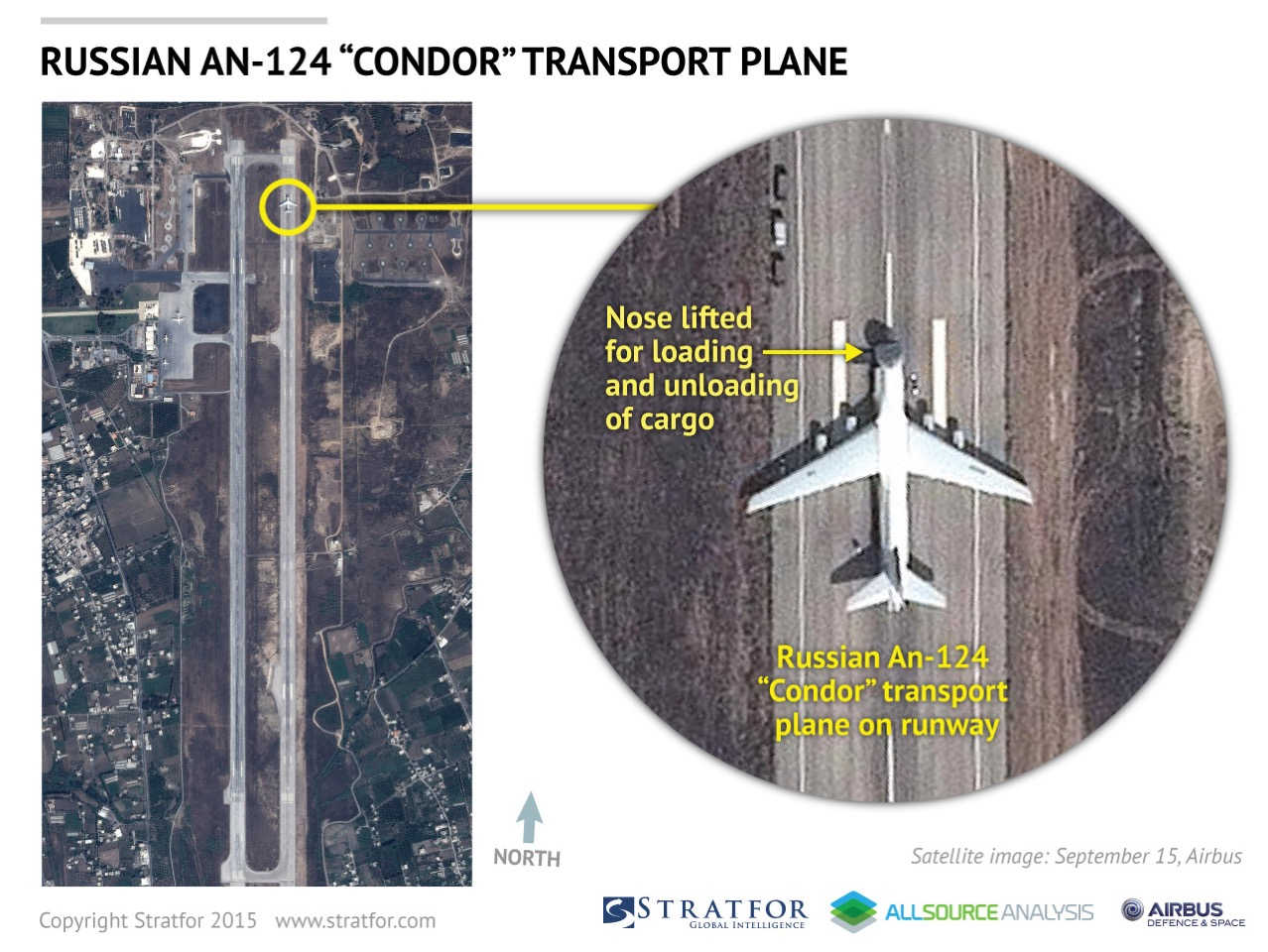 Russian Condor transport plane at Latakia, Syria (Photo by Stratfor, a geopolitical intelligence and advisory firm based in Austin, Texas)