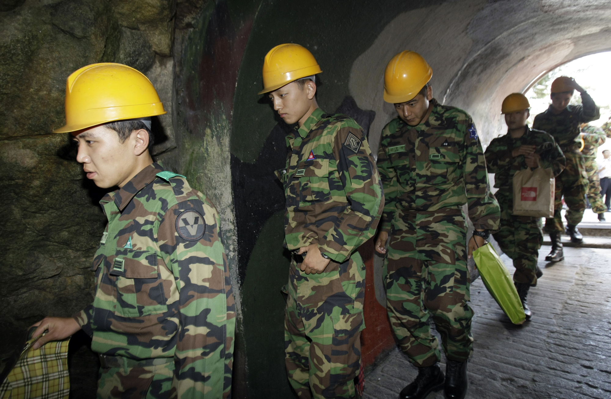 South Korean soldiers visit the 2nd Underground Tunnel, found in 1975 near the city of Cheorwon, on Sept. 18, 2008.
