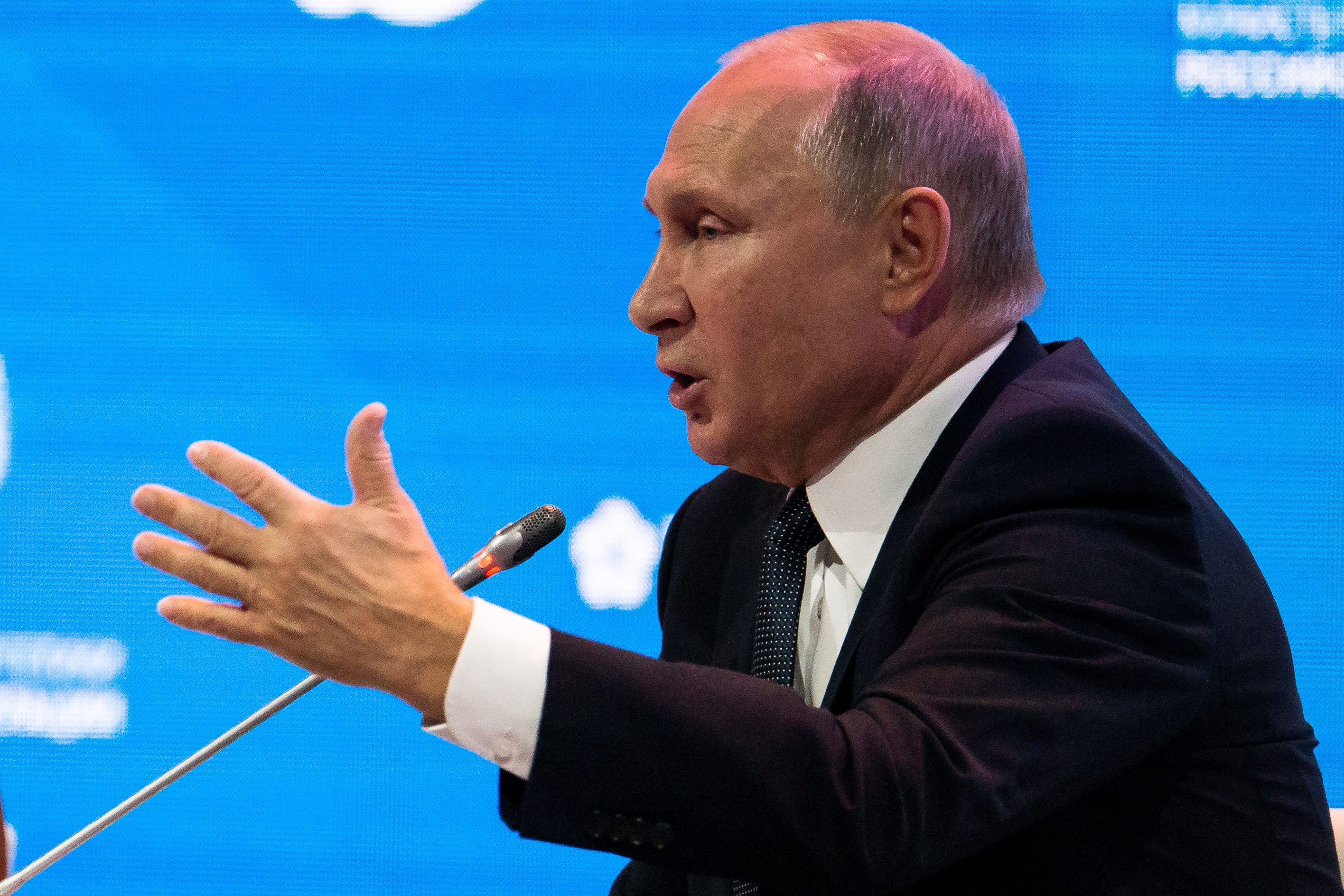 Russian President Vladimir Putin speaks during a session of the Russian Energy Week international forum in Moscow, Oct. 3, 2018.