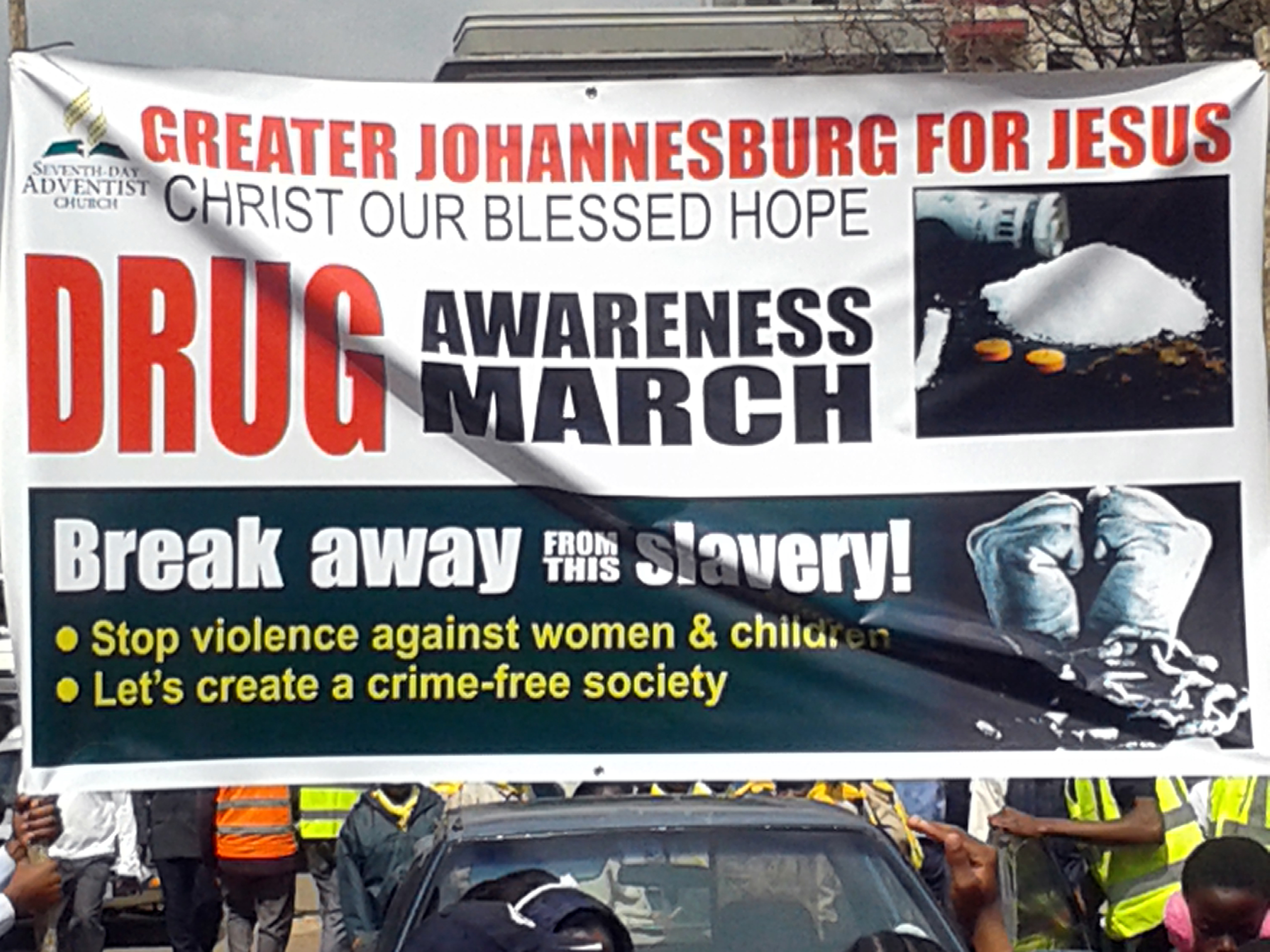 Anti-crime campaign led by the Seventh Day Adventist Church in South Africa, Sept. 6, 2015. (photo by Thuso Khumalo)