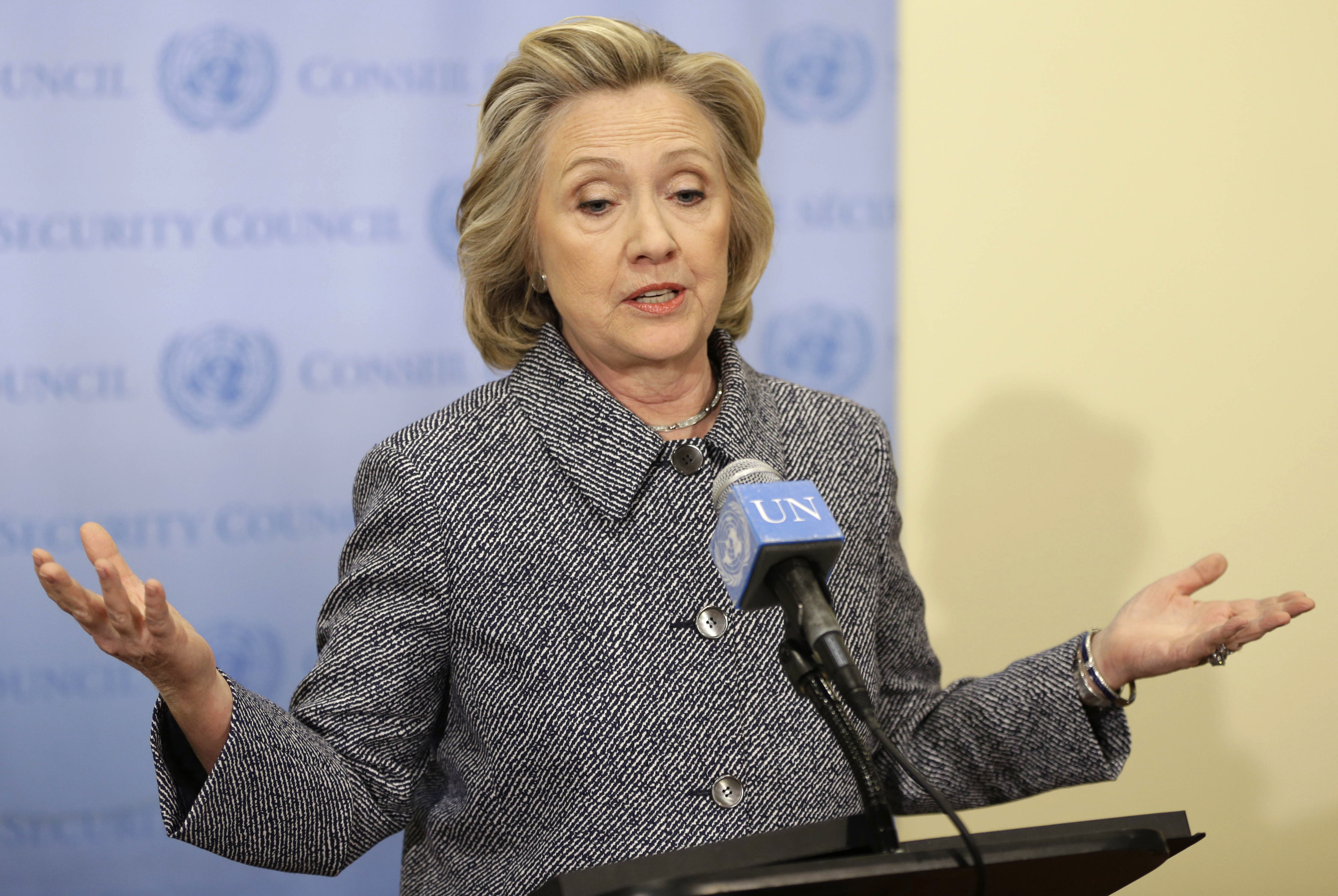Hillary Rodham Clinton addresses the email controversy at a news conference In New York City March 10, 2015.