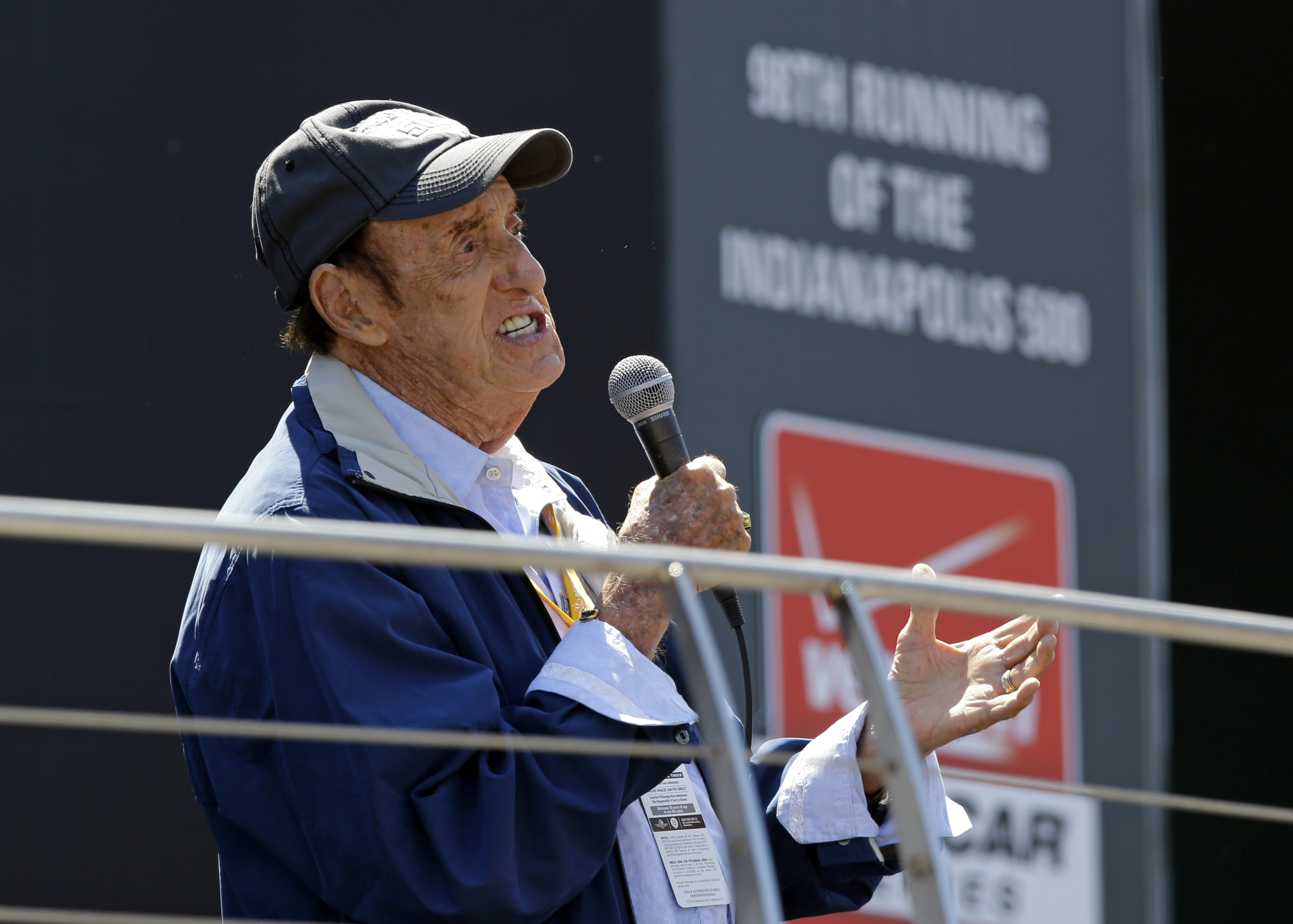 "FILE - Jim Nabors sings ""Back Home Again in Indiana"" for the final time before the start of the 98th running of the Indianapolis 500 auto race at the Indianapolis Motor Speedway in Indianapolis, May 25, 2014."
